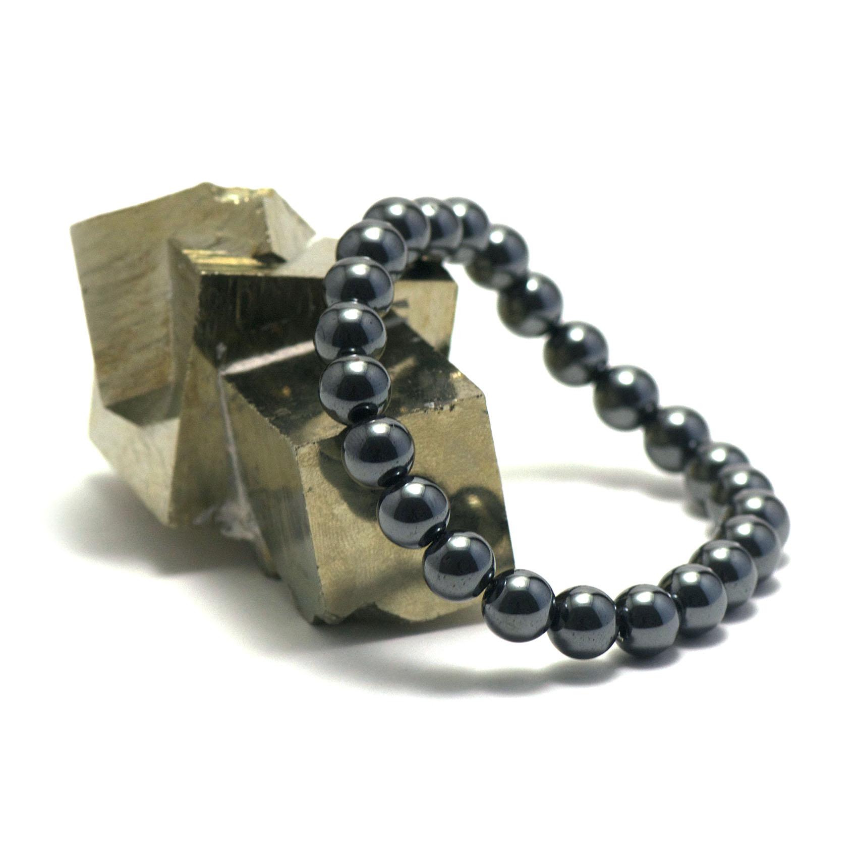 bracelet hématite ,  perle ronde 8 mm