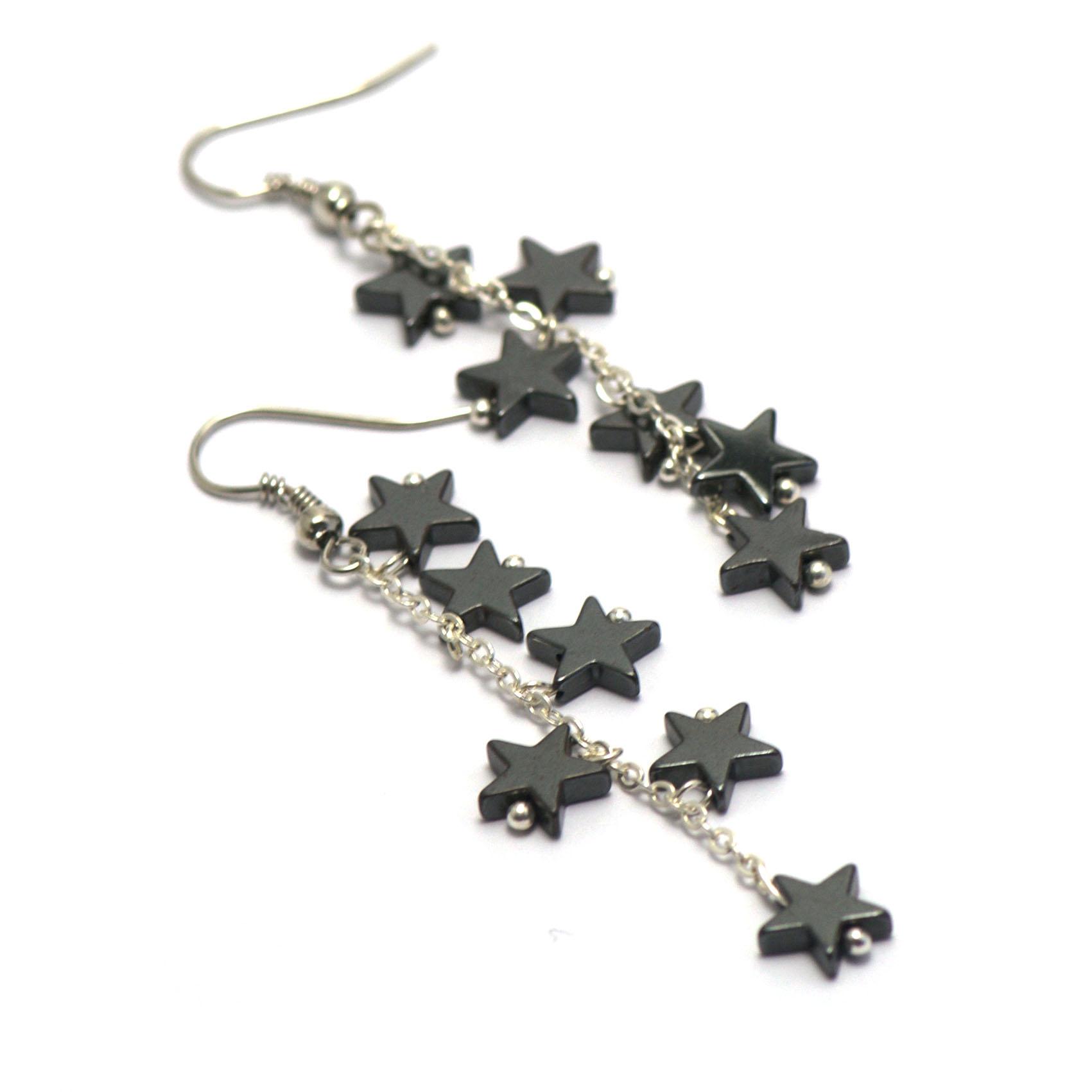 boucle d\'oreille hématite , création  chaînes - mini étoile