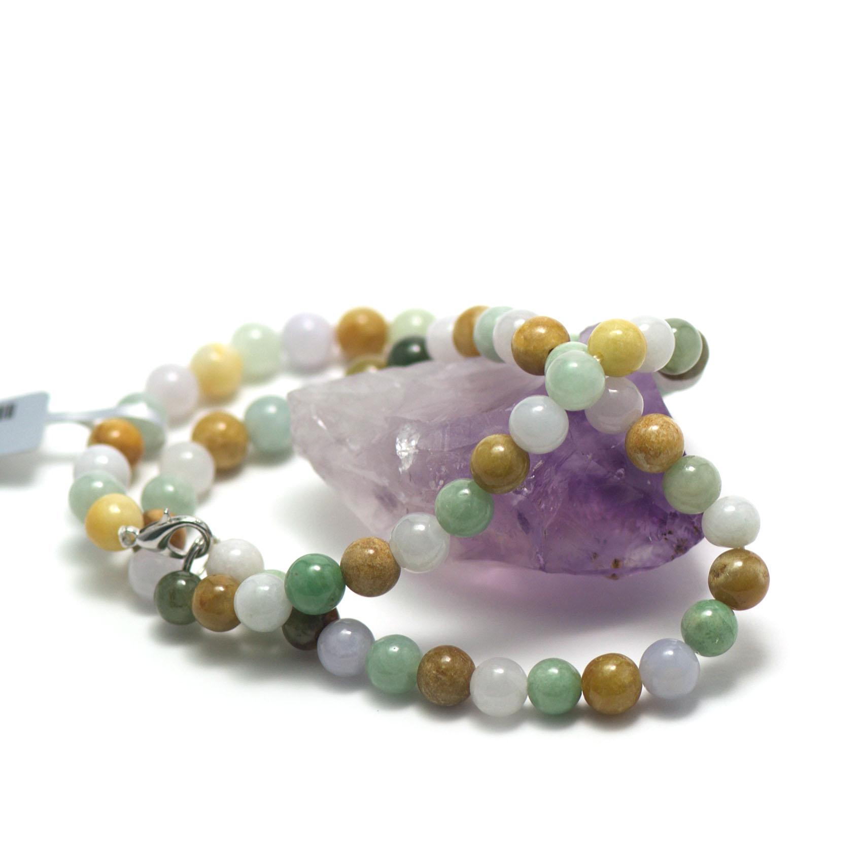 collier jade ,  perle ronde 7 mm , jaune -blanc-vert clair
