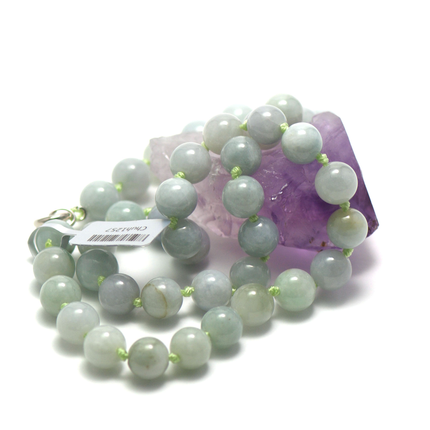 collier jade ,  perle ronde 10 mm