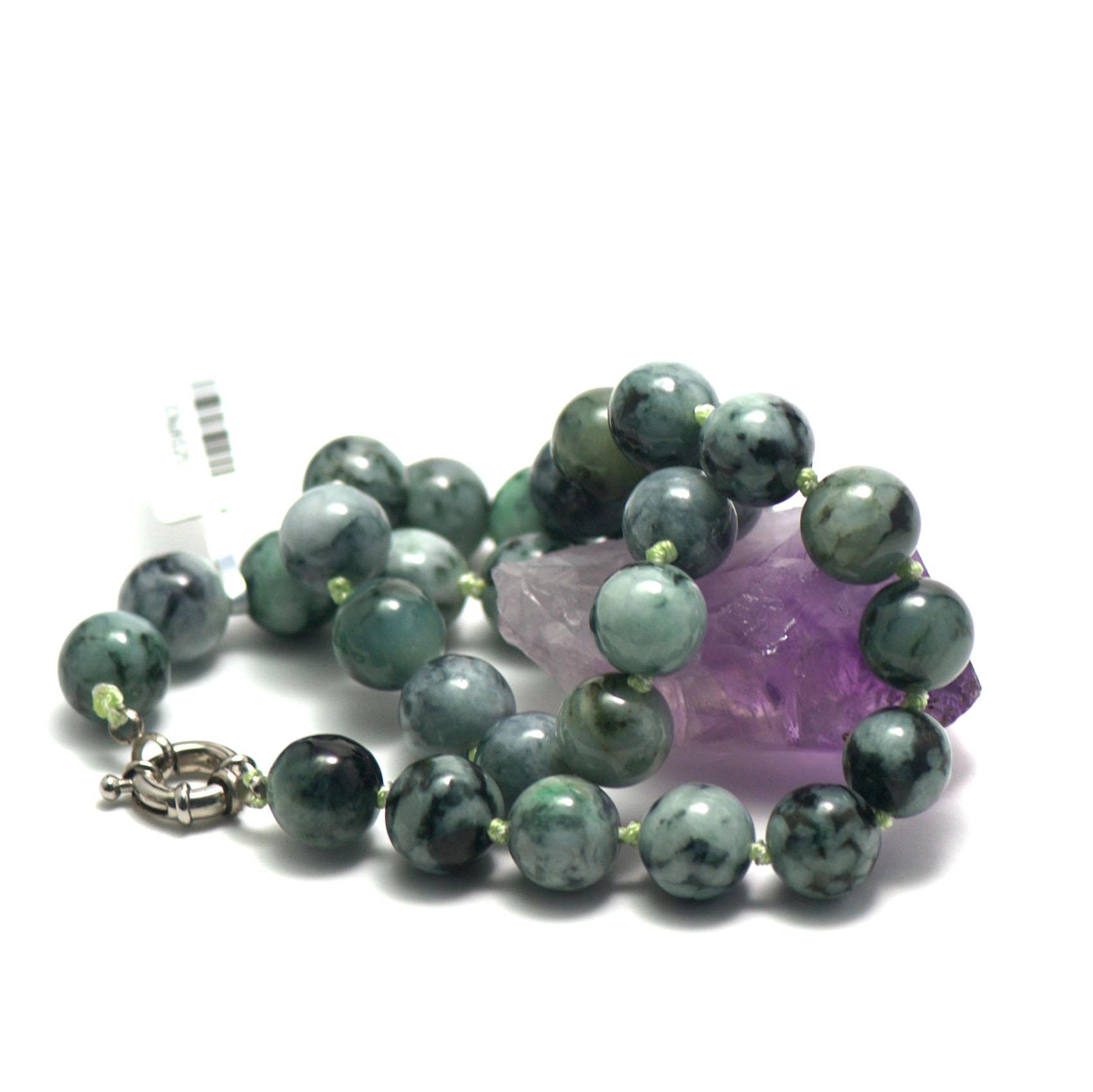collier jade ,  perle ronde 13 mm -vert marbré