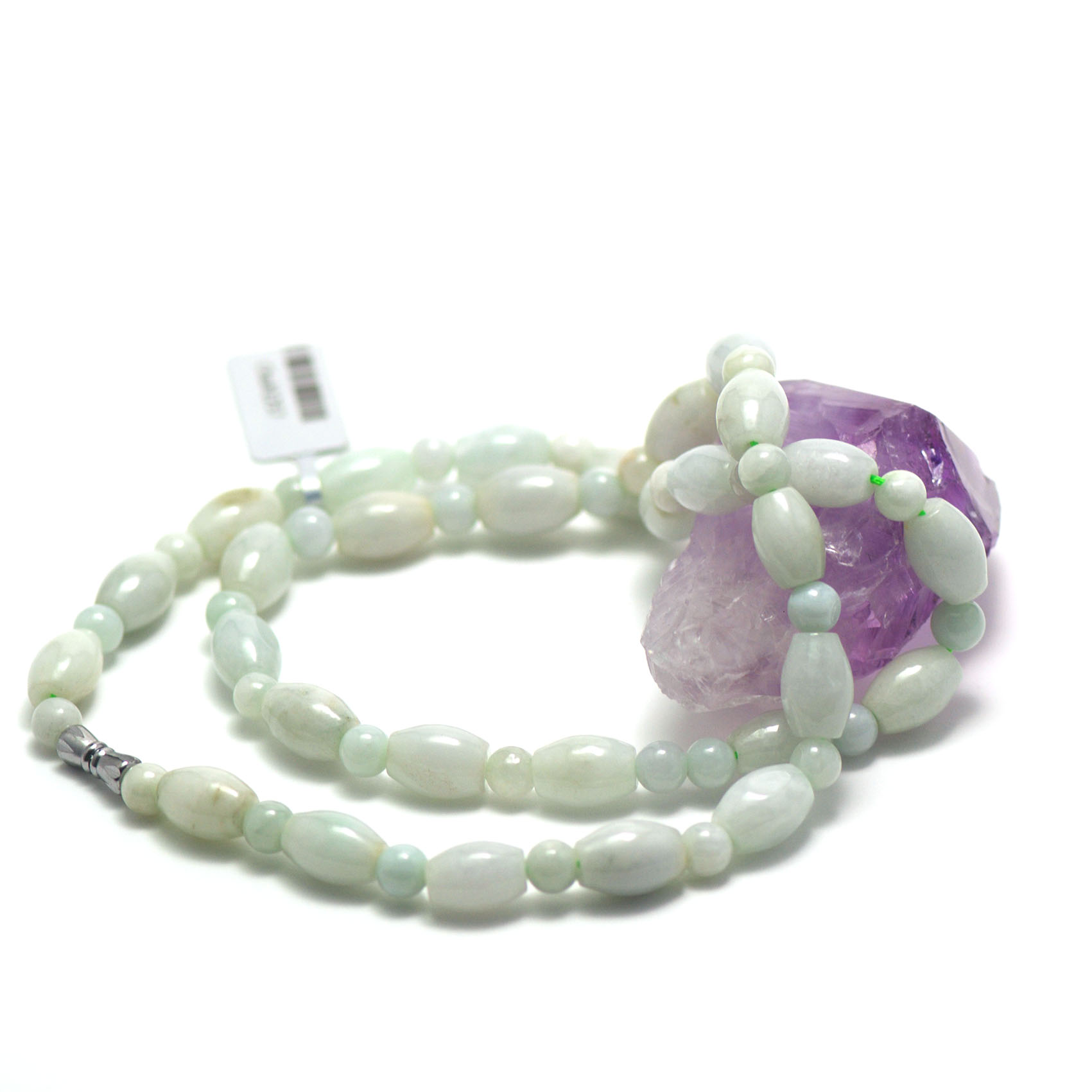 collier jade , perle olive-ronde 6 mm