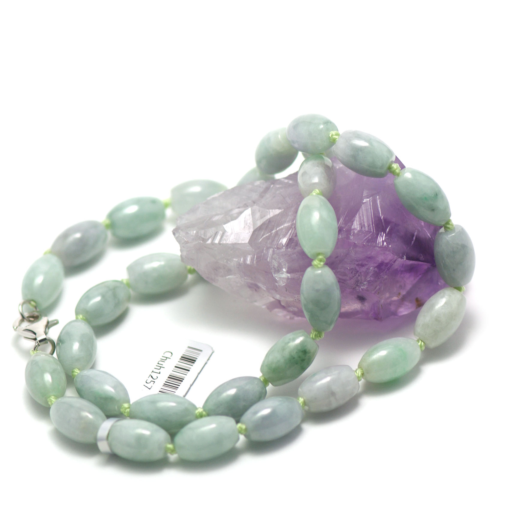 collier jade , perle olive