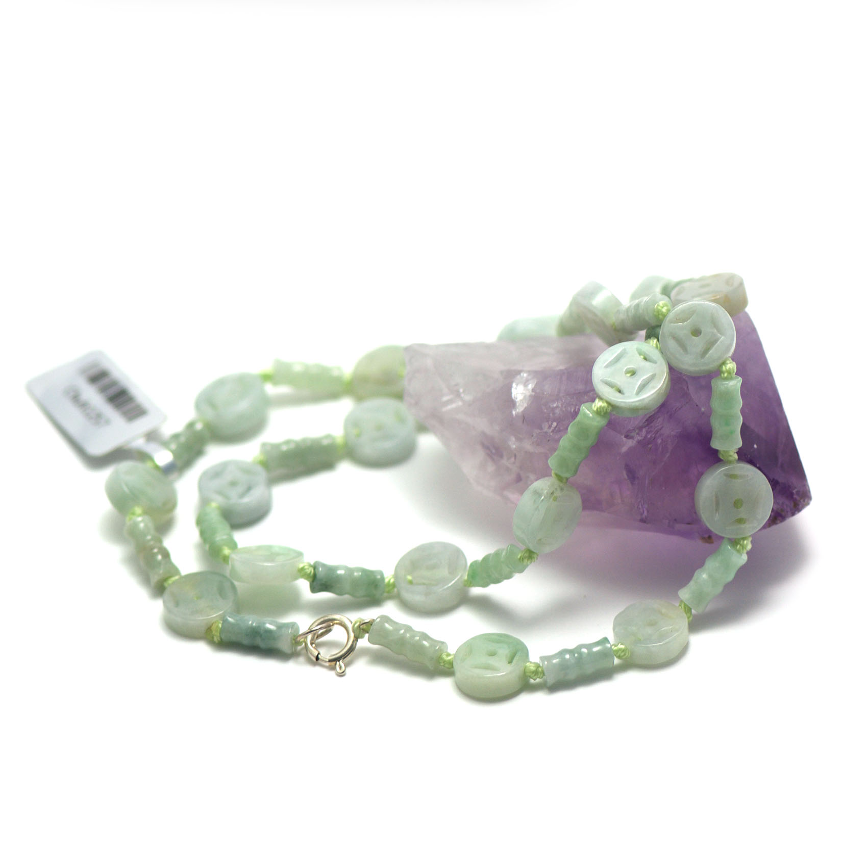 collier jade ,  tube motif - palet rond motif