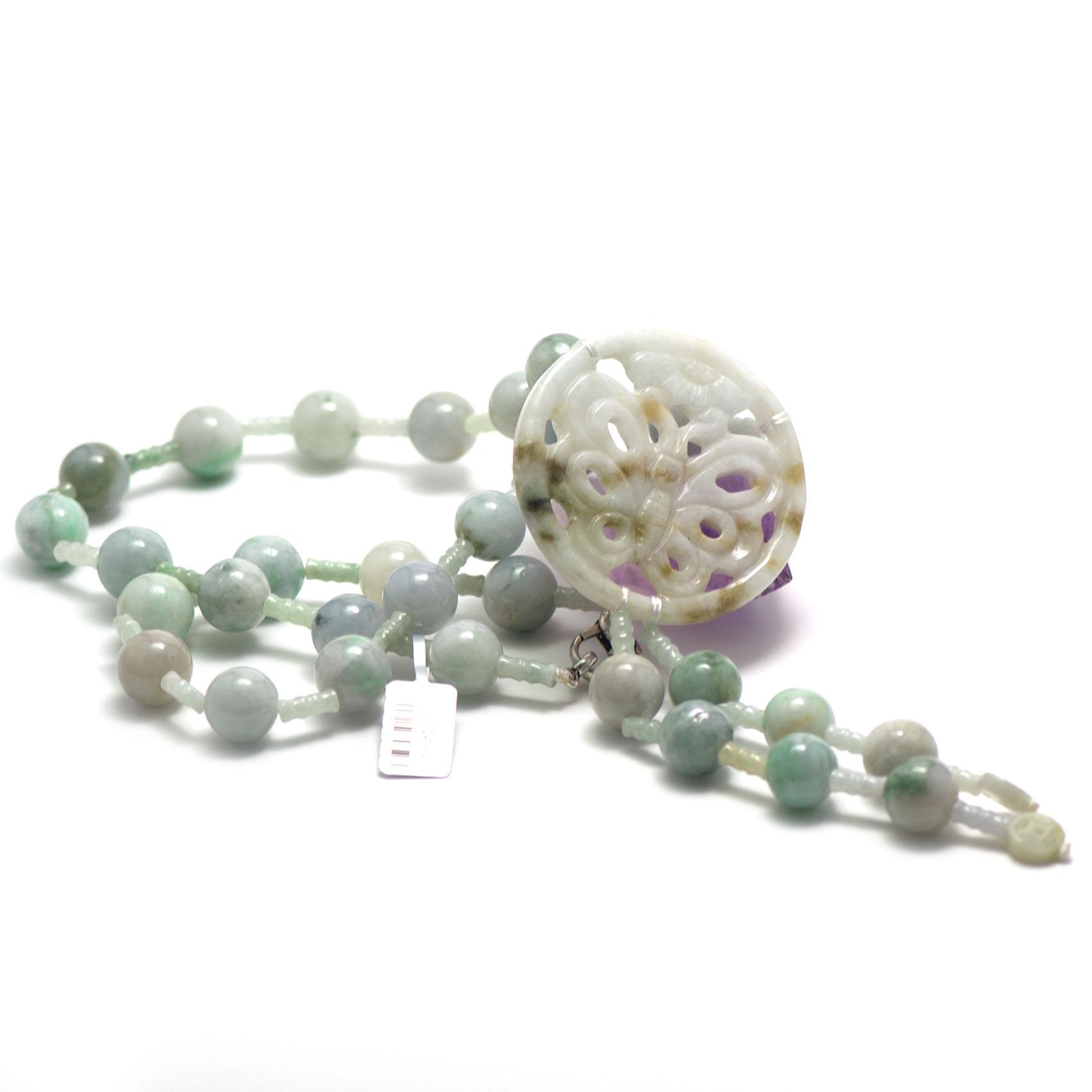 collier long jade , création pendentif papillon