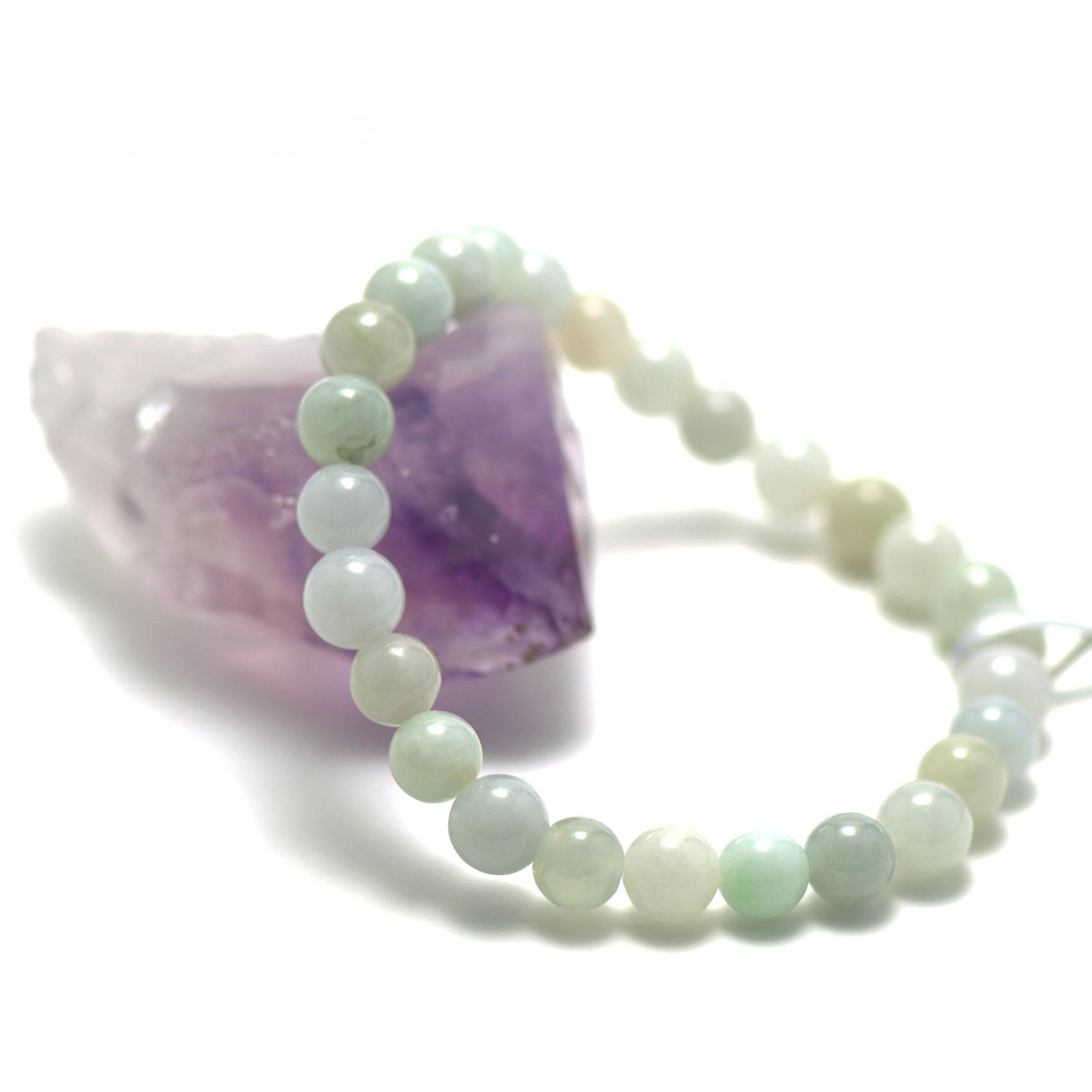bracelet jade ,perle ronde 8 mm, vert clair