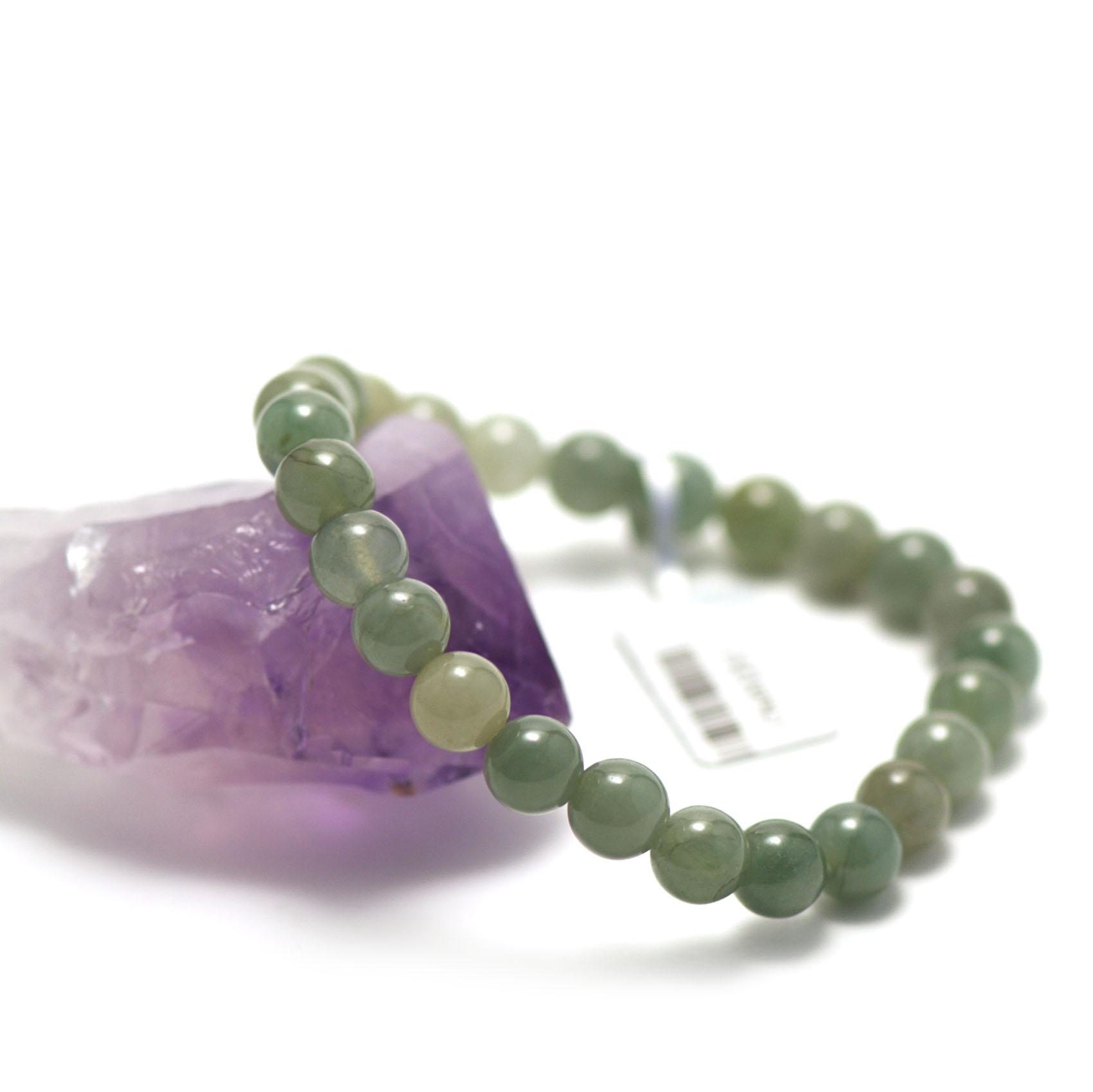 bracelet jade, perle ronde 7 mm, verte