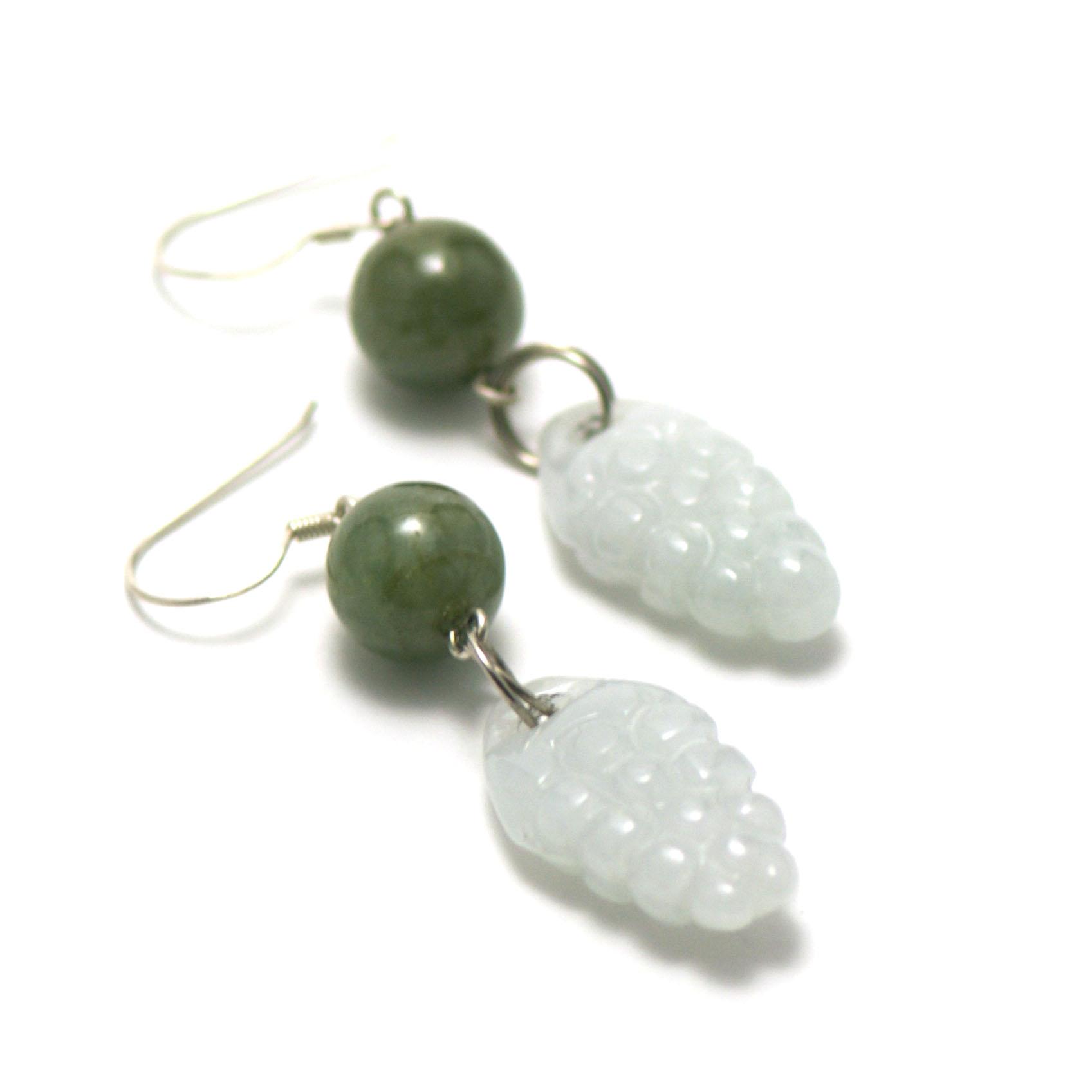 boucle d\'oreille jade , perle grappe de raisin - perle ronde 10 mm