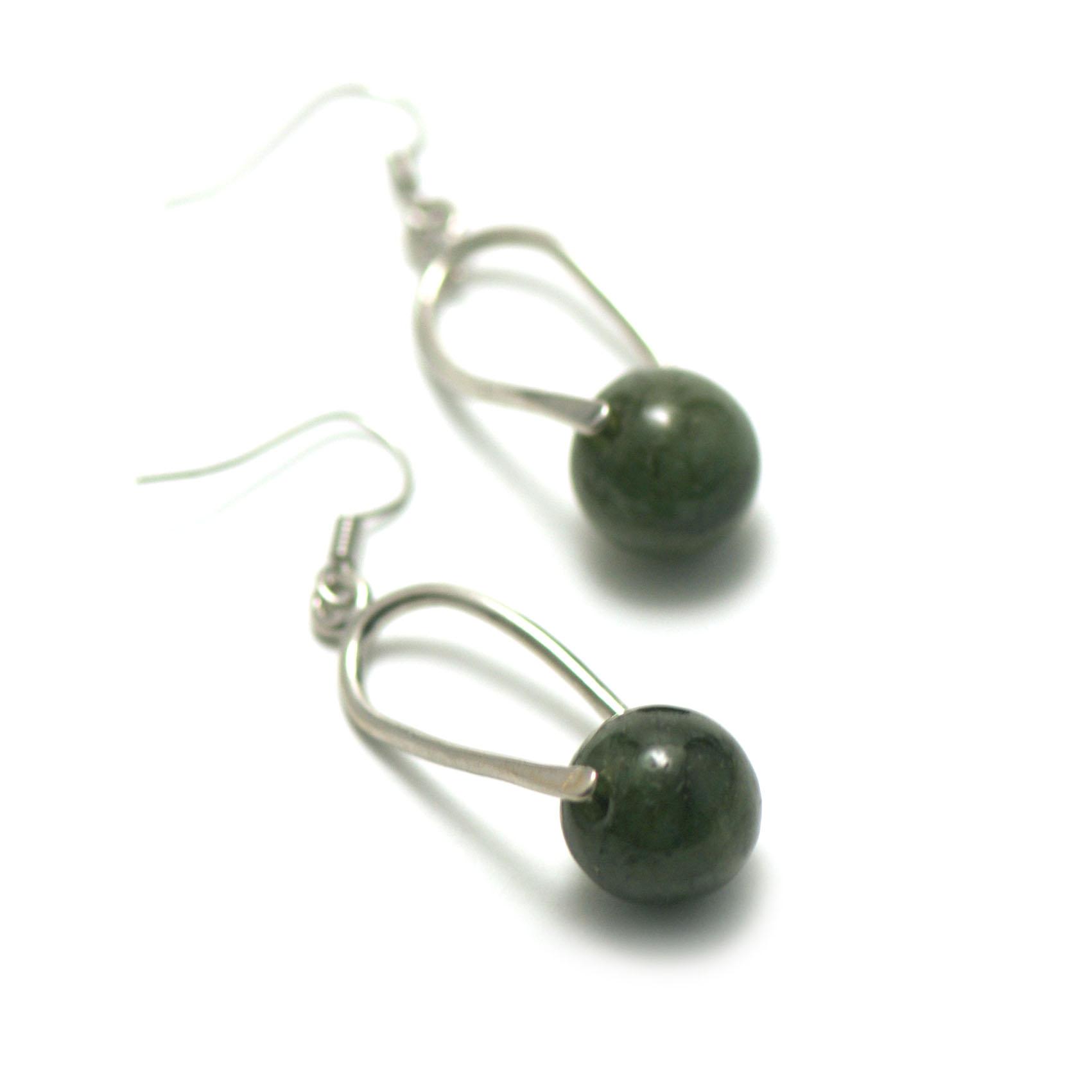 boucle d\'oreille jade ,  cage-perle ronde 12 mm , vert foncé
