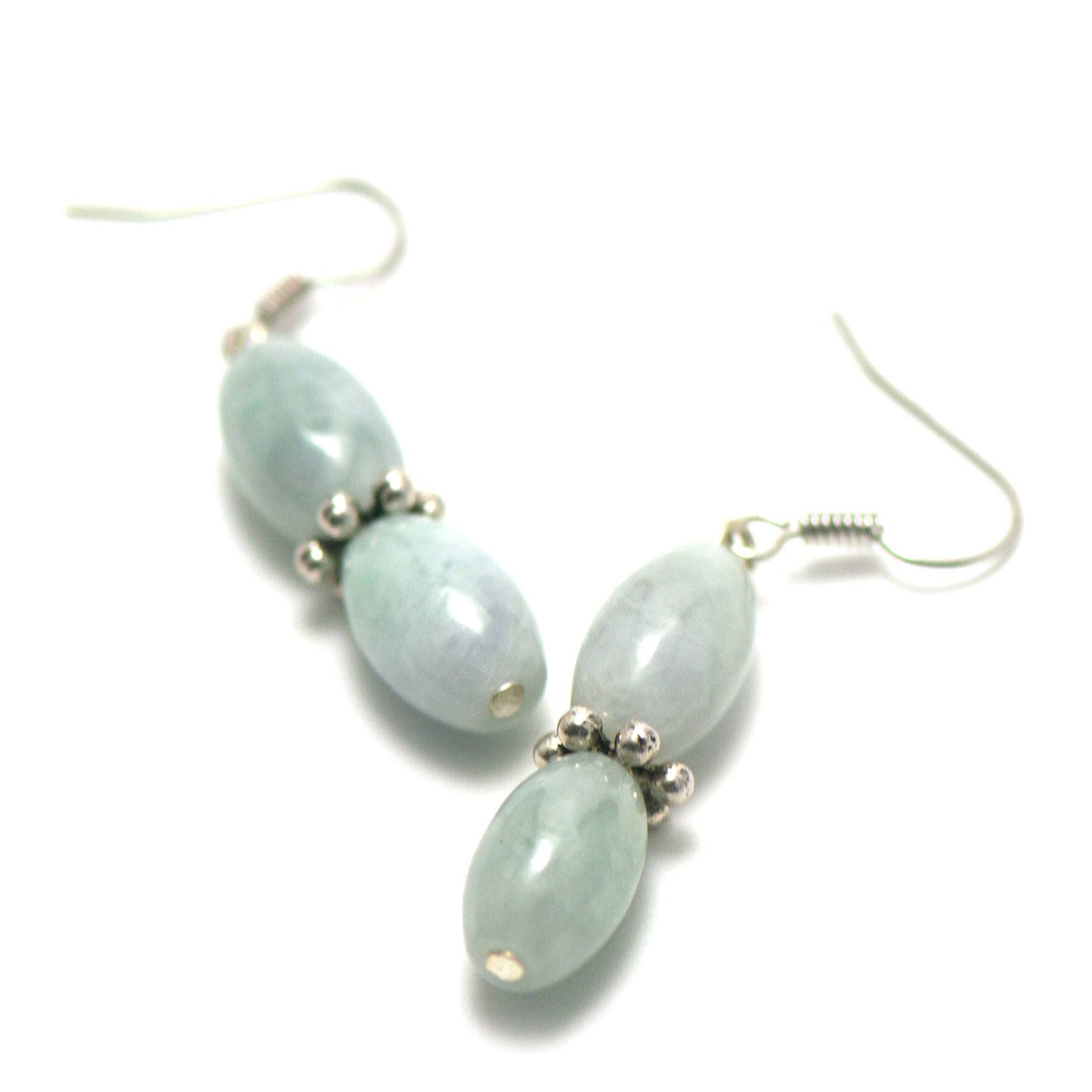 boucle d\'oreille jade ,  double olive- perle argentée