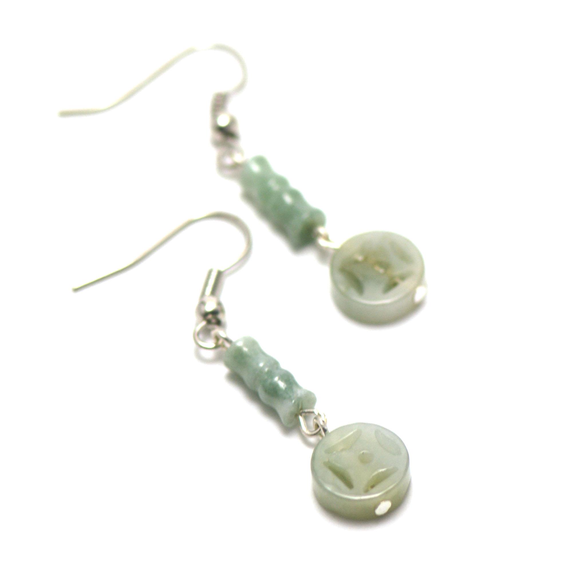 boucle d\'oreille jade ,  perle tube motif - palet rond motif