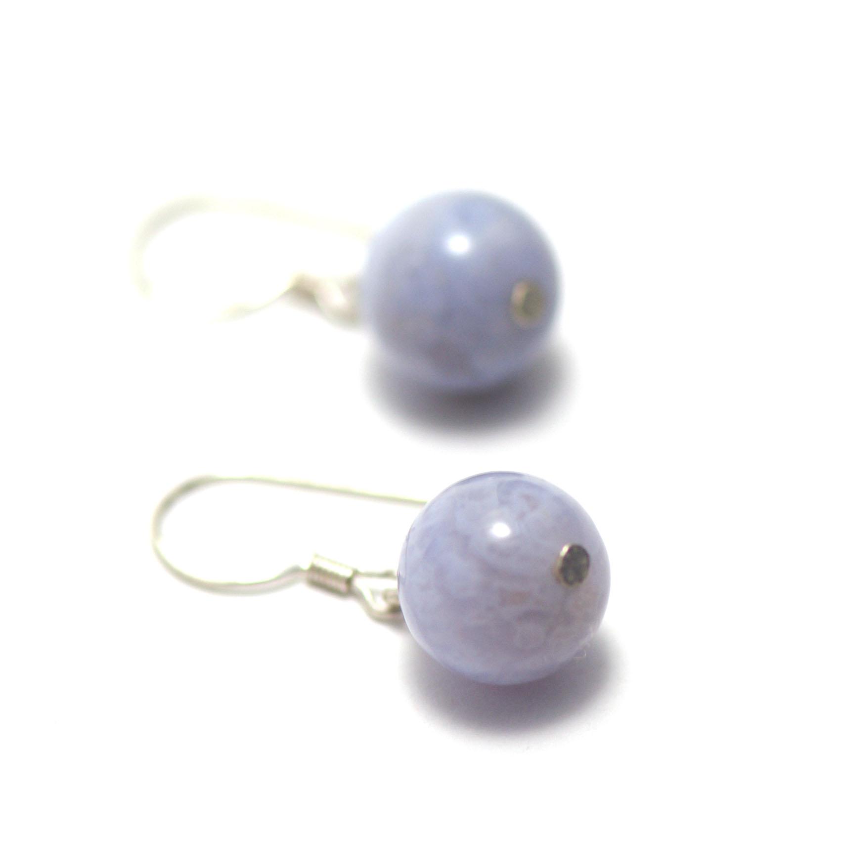 boucle d\'oreille calcédoine bleue ,  perle ronde 10 mm