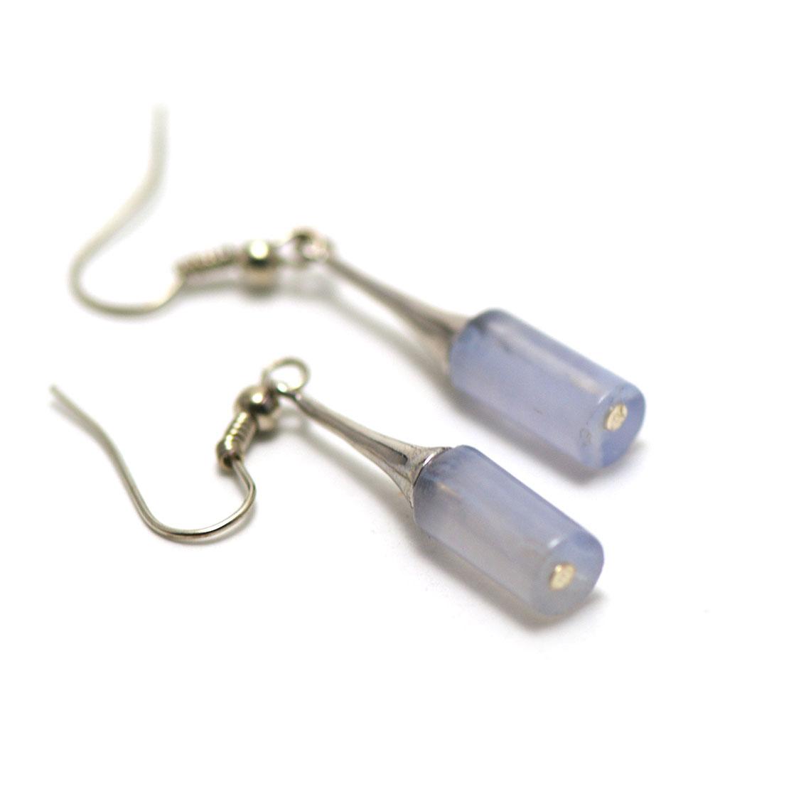 boucle d\'oreille calcédoine bleue ,  lustre - perle tube