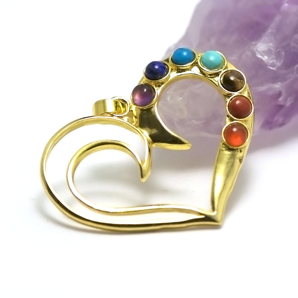 pendentif 7 chakras coeur, doré