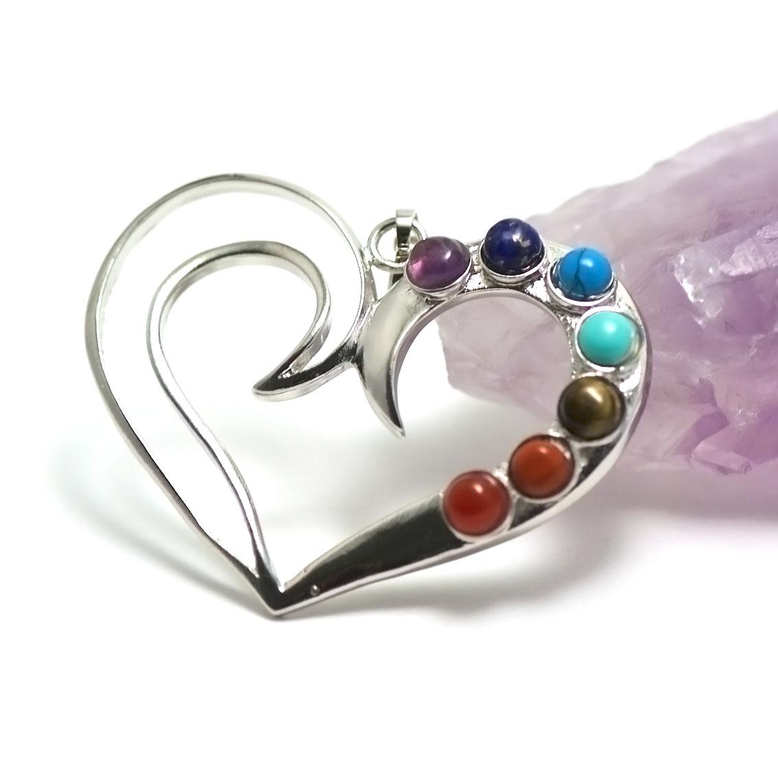 pendentif 7 chakras coeur, argenté