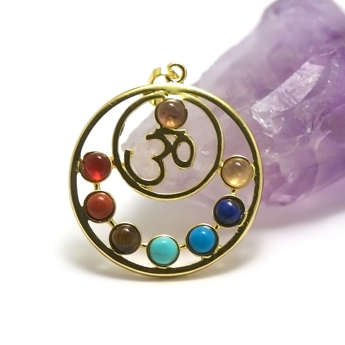 pendentif 7 chakras double cercles, doré