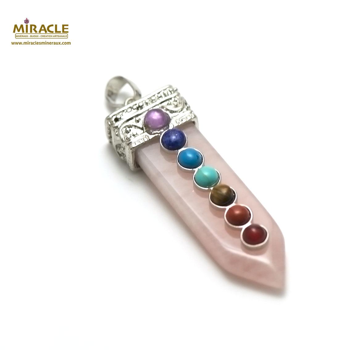pendentif 7 chakras  épée quartz rose, pierre naturelle