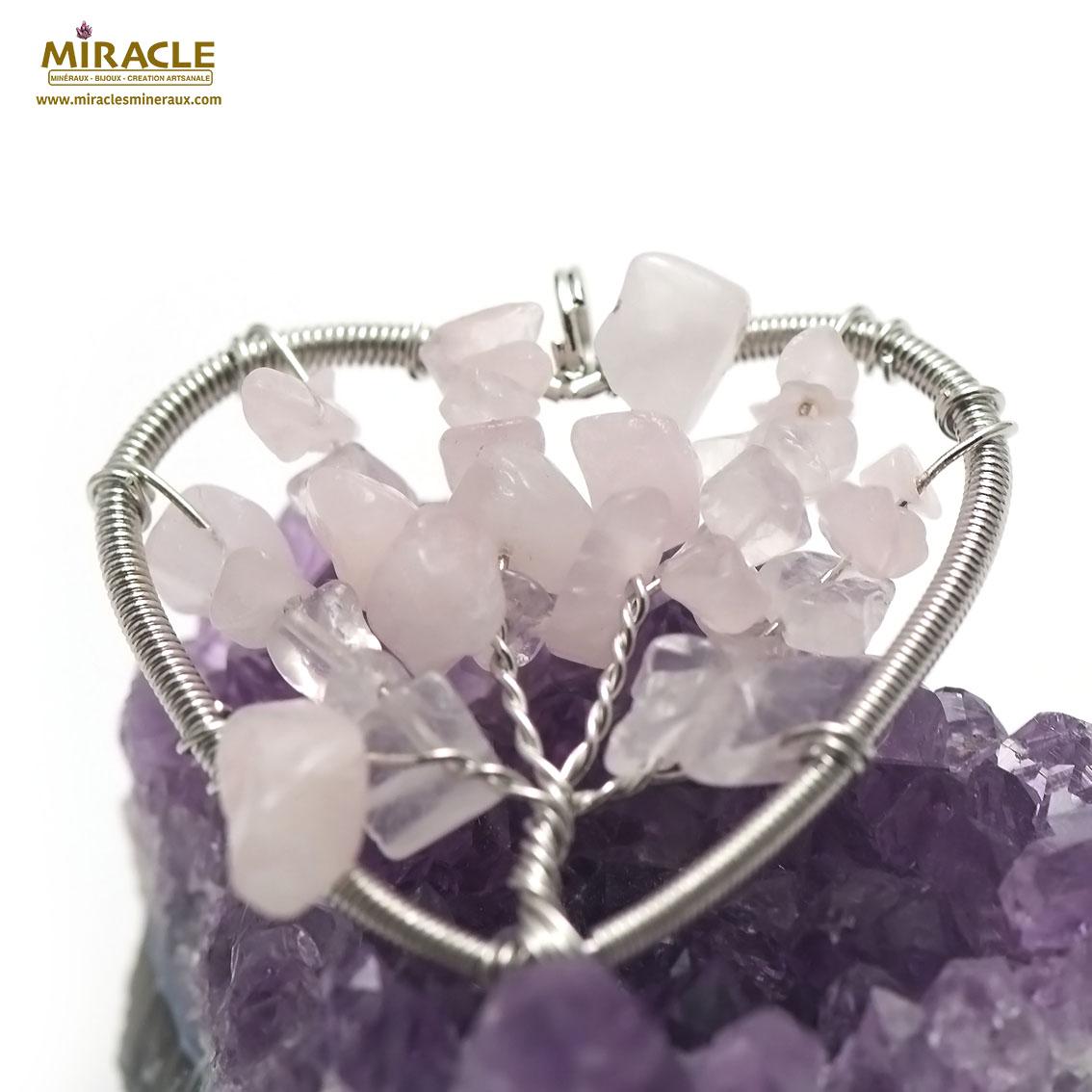 pendentif quartz rose attrape rêve coeur,pierre naturelle