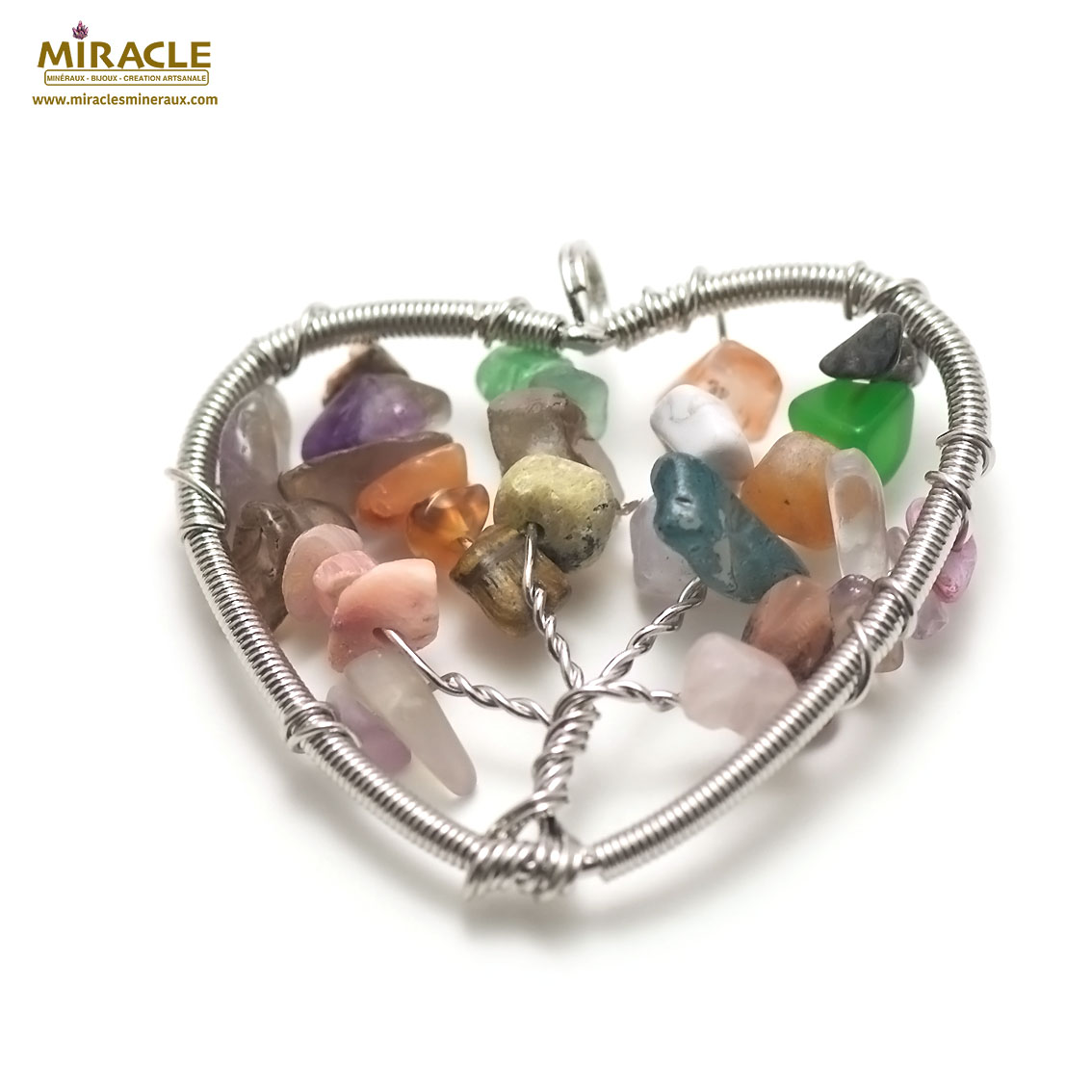 pendentif multi-pierre attrape rêve coeur, pierre naturelle