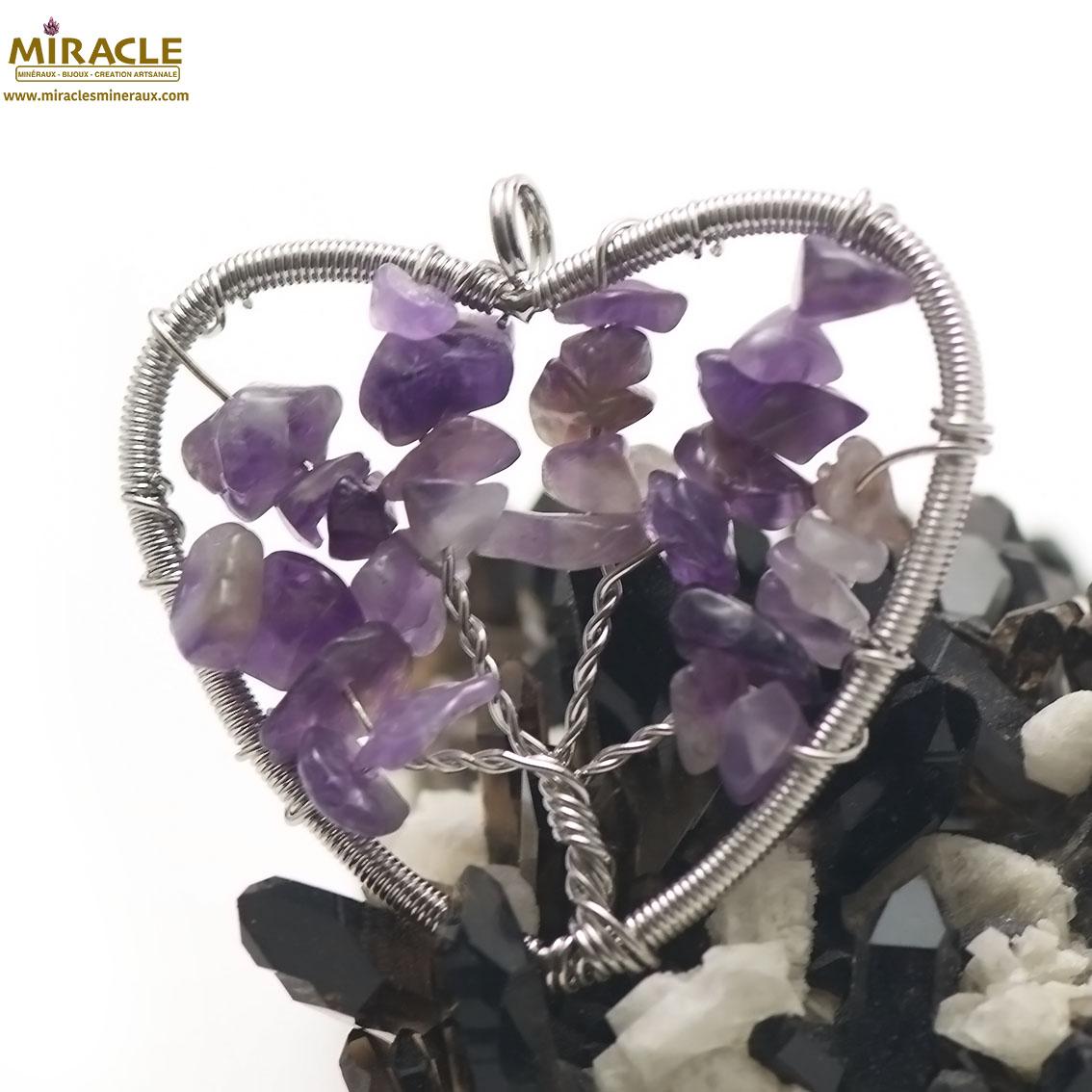 pendentif améthyste attrape rêve coeur,pierre naturelle