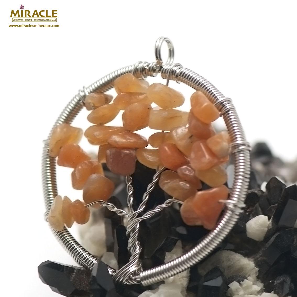 pendentif cornaline  attrape rêve ronde , pierre naturelle