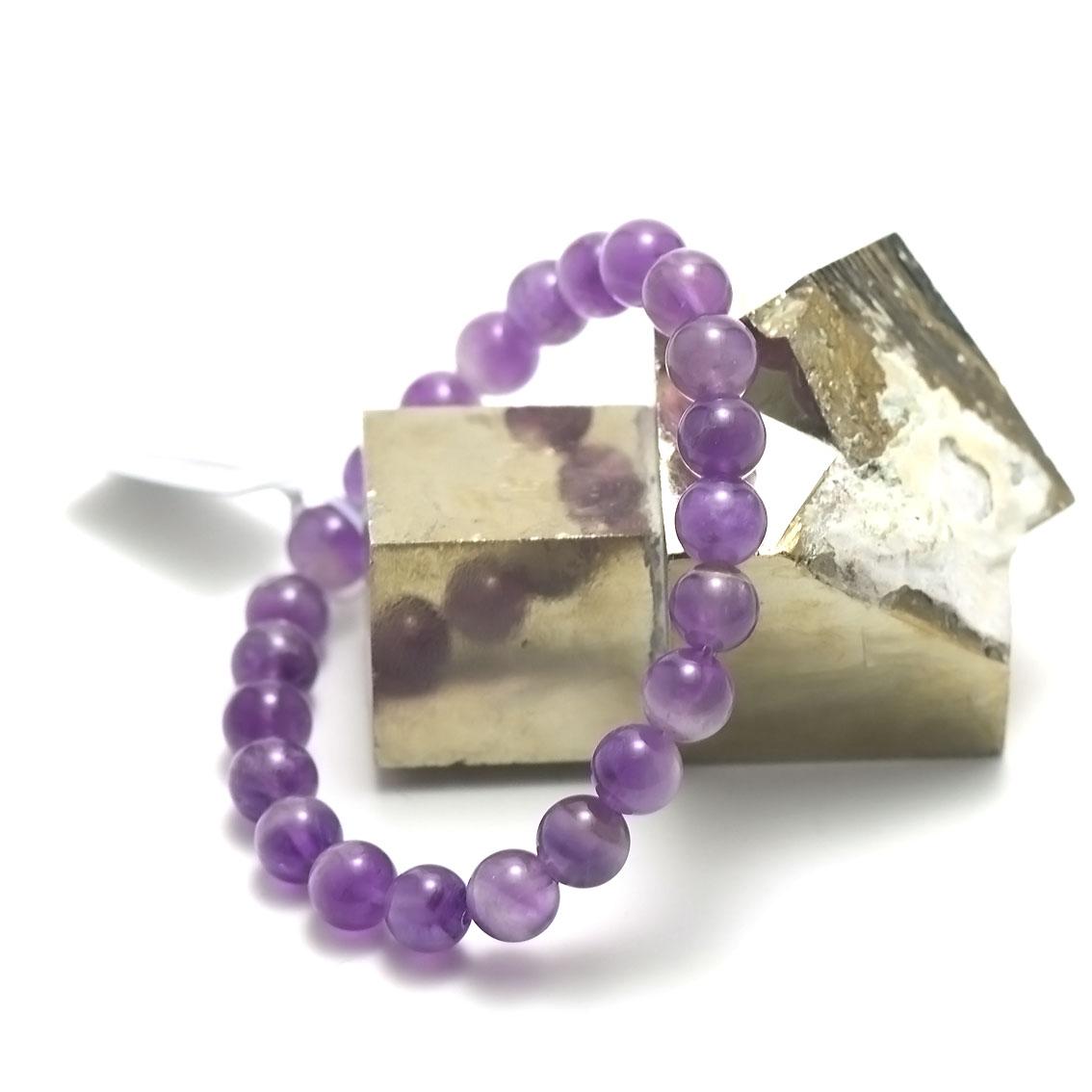 bracelet améthyste  perle ronde 8 mm, pierre naturelle