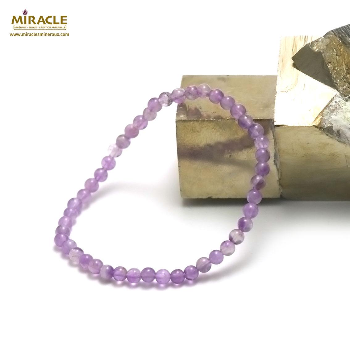 bracelet améthyste perle ronde 4 mm , pierre naturelle
