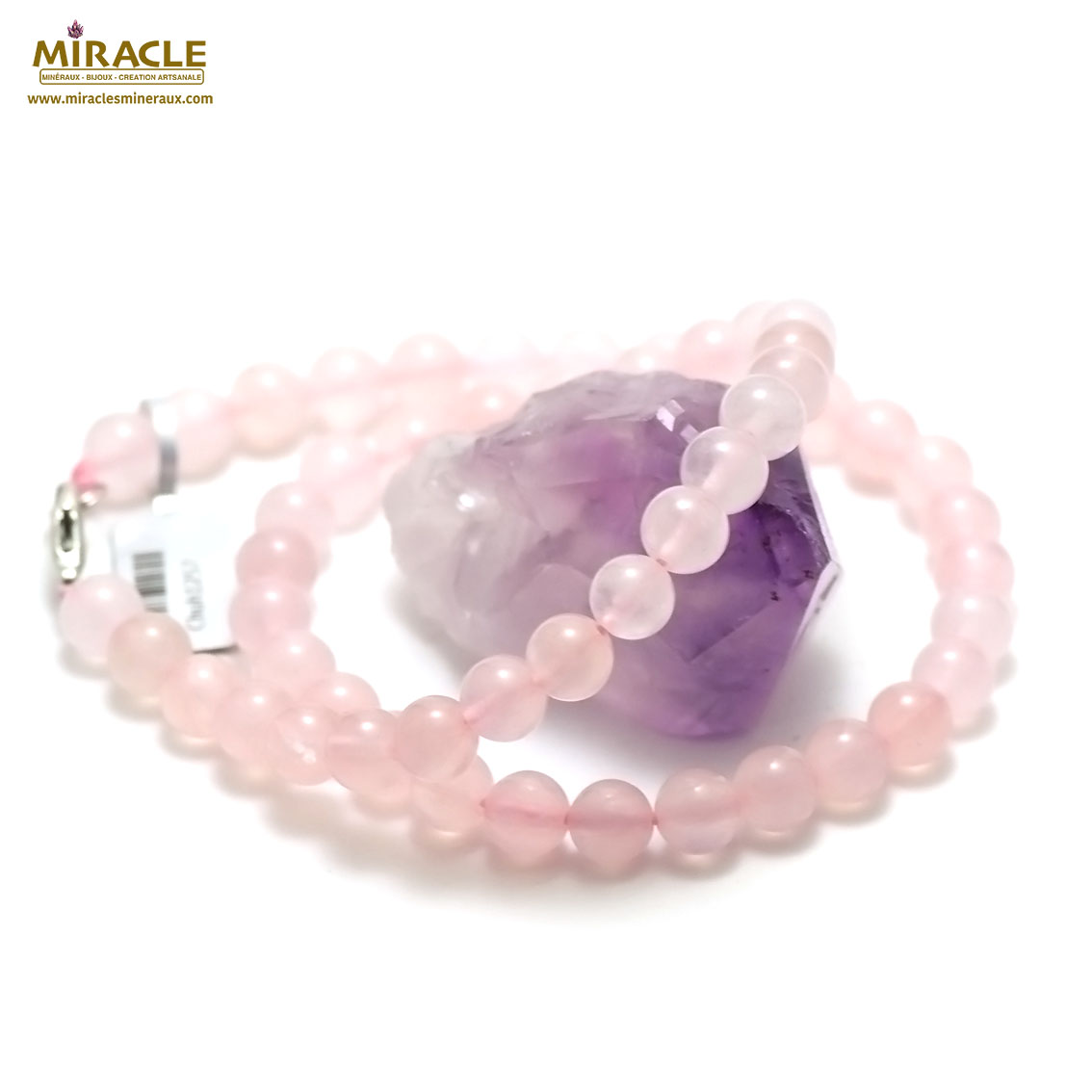 collier quartz rose perle ronde 8 mm