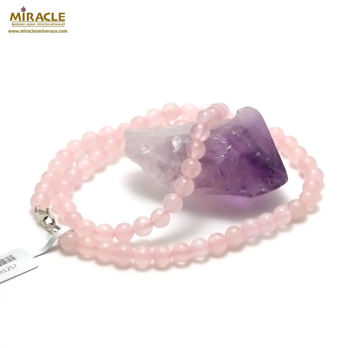 collier quartz rose  perle ronde 6 mm