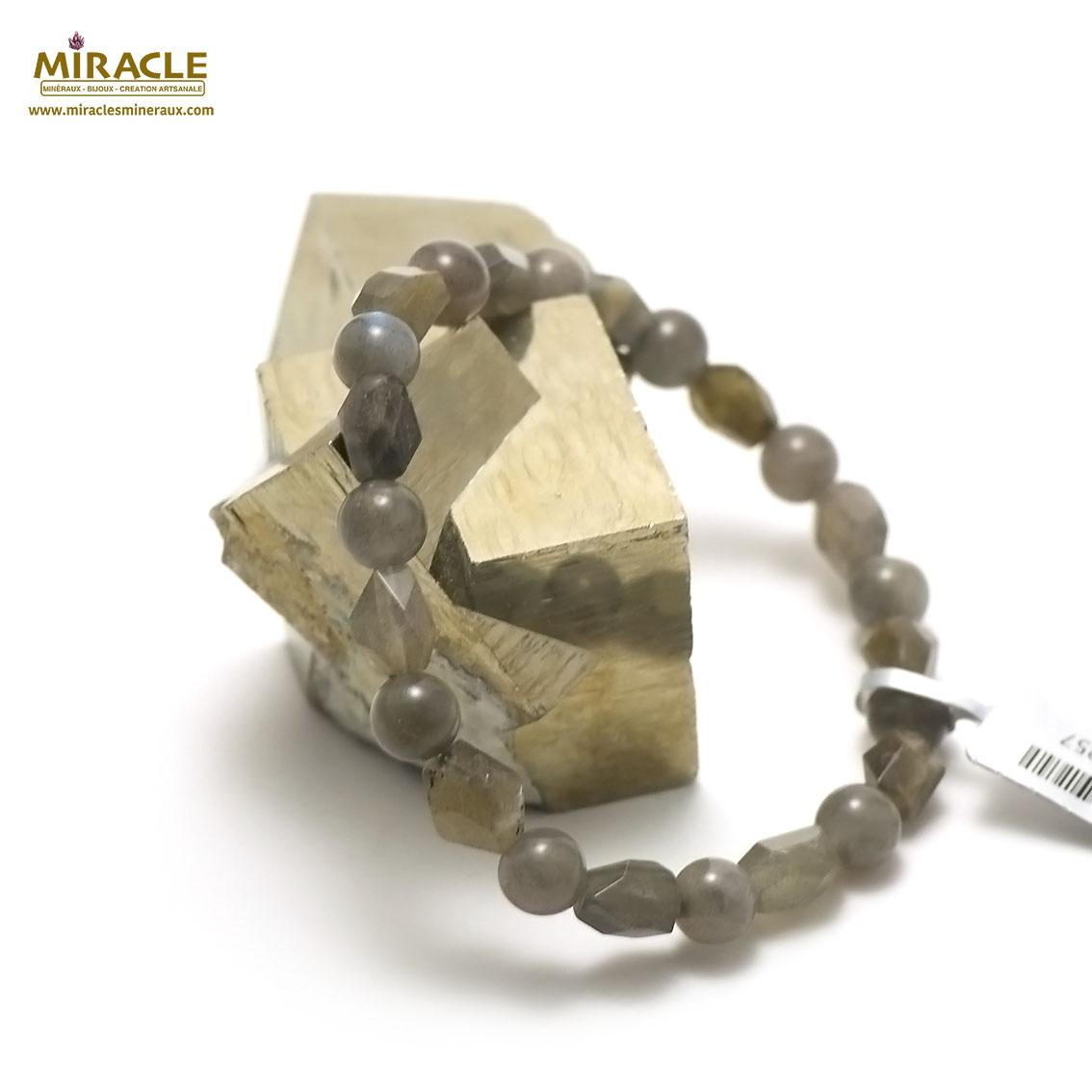 bracelet labradorite galet baroque - ronde 8 mm,pierre naturelle