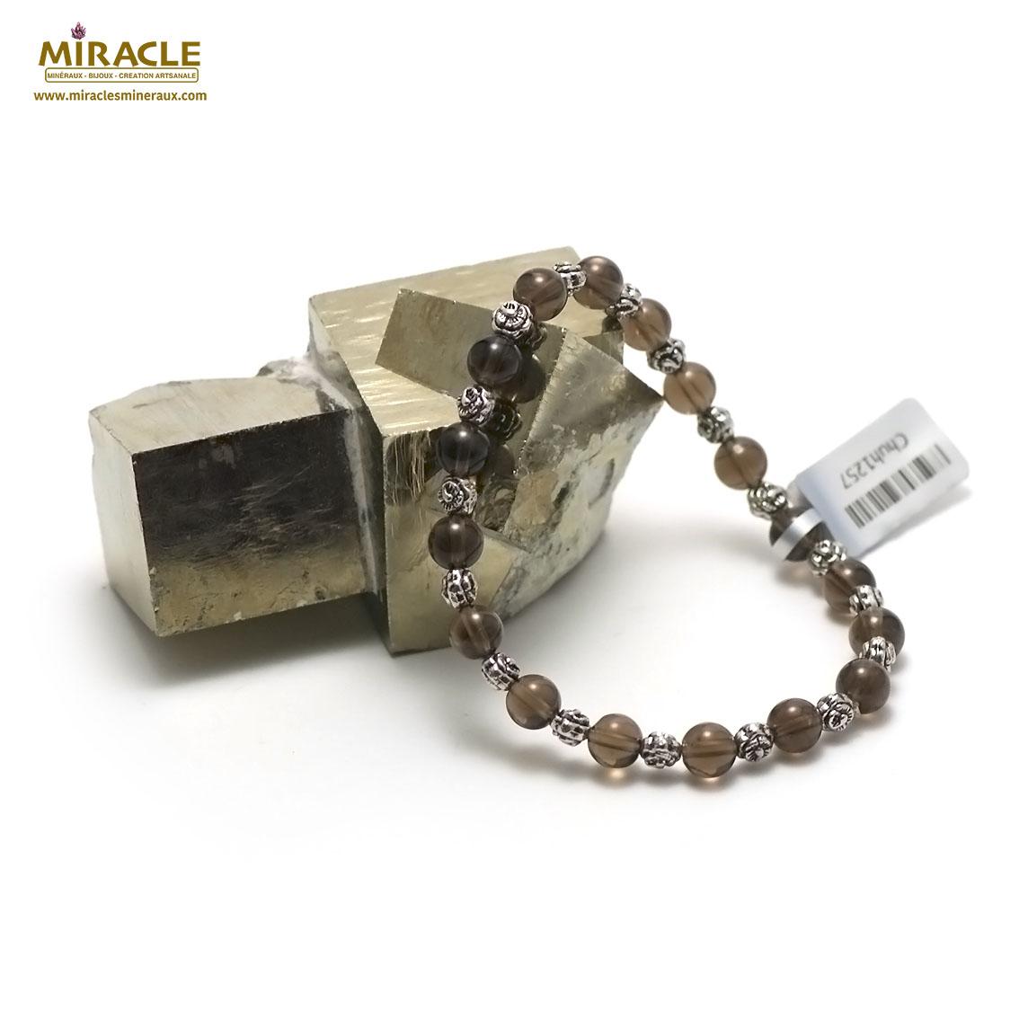 bracelet quartz fumé  ronde 6 mm /perle métallique