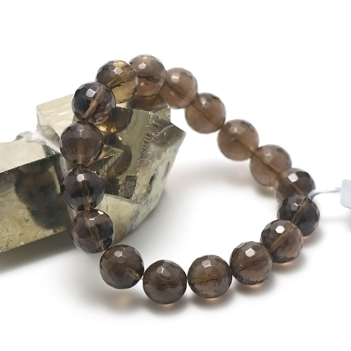 bracelet quartz fumé perle ronde facettée 12 mm