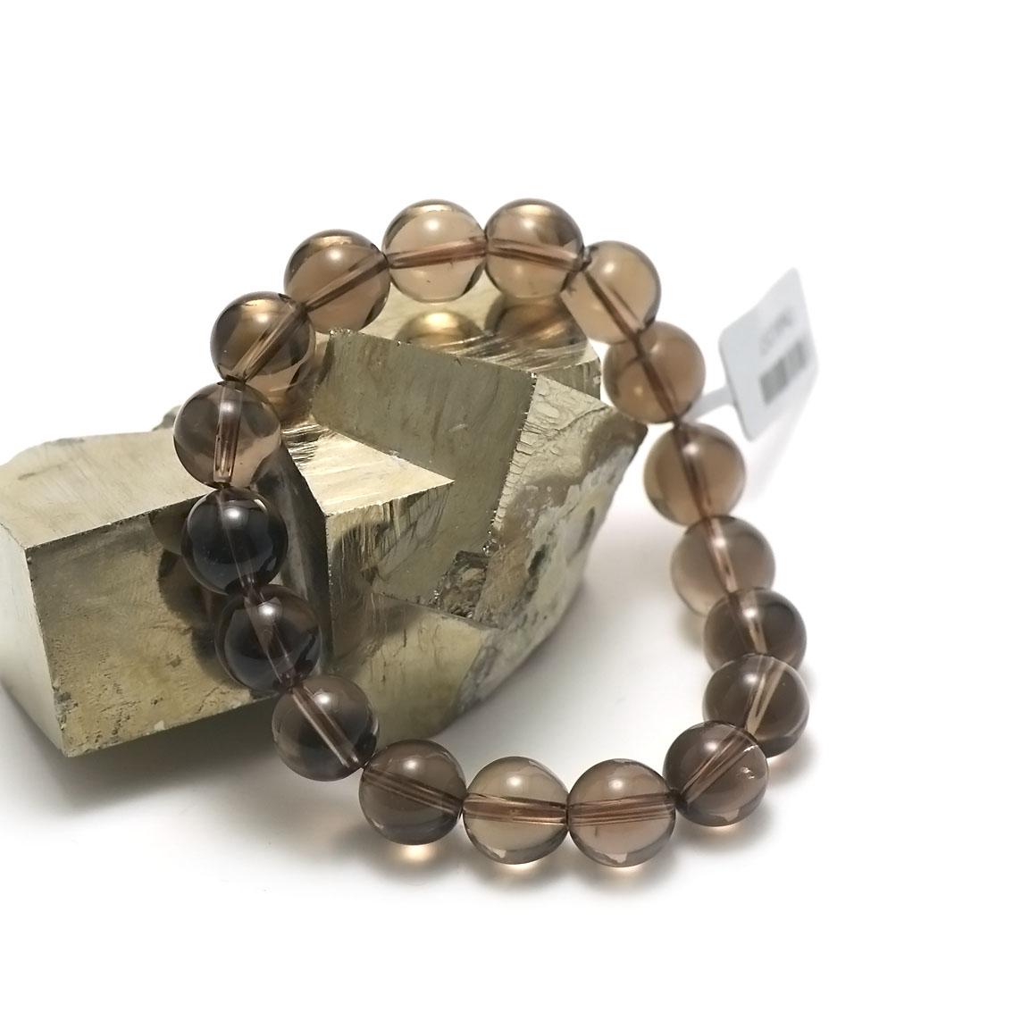 bracelet quartz fumé ronde 10 mm