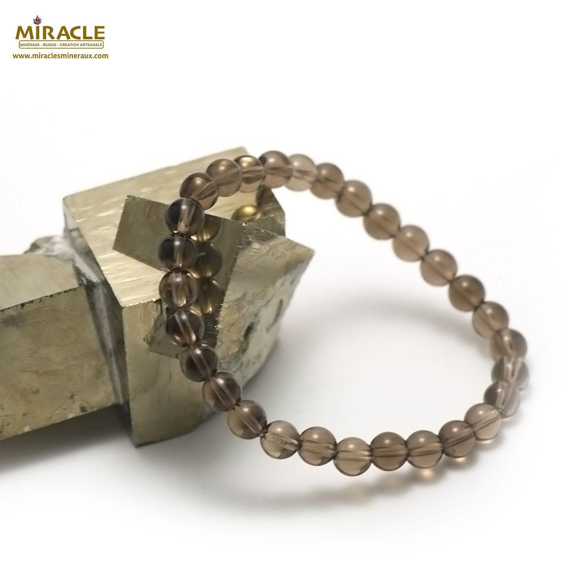 bracelet quartz fumé  perle ronde 6 mm