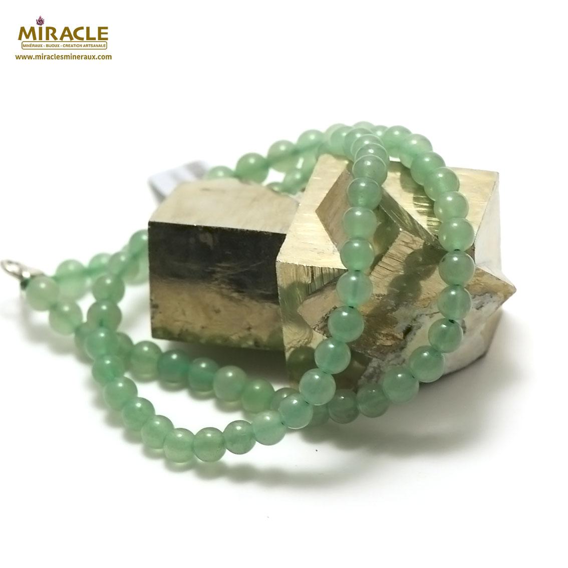 collier aventurine perle ronde 6 mm