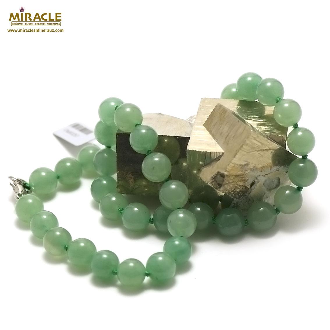 collier aventurine perle ronde 10 mm