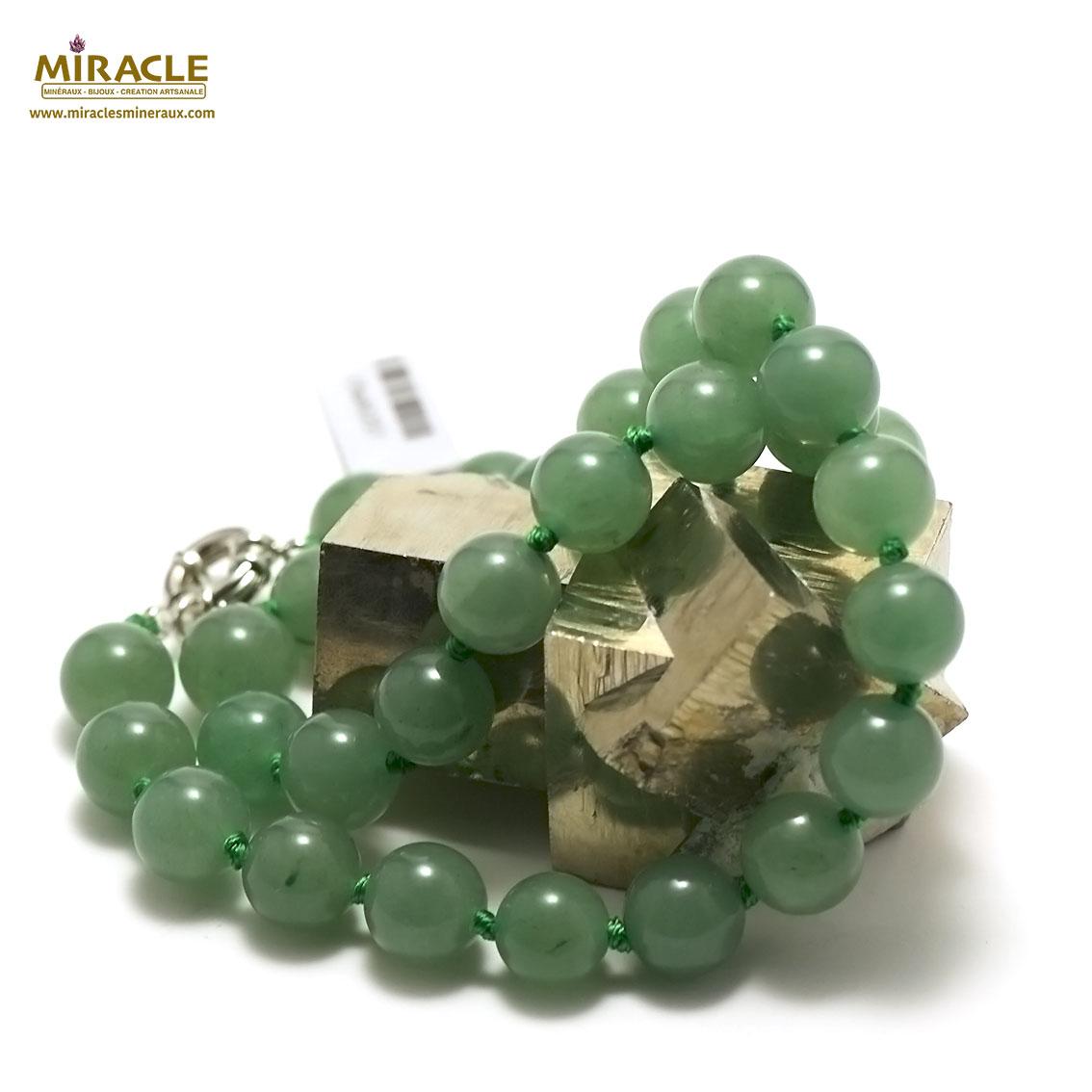collier aventurine  perle ronde 12 mm
