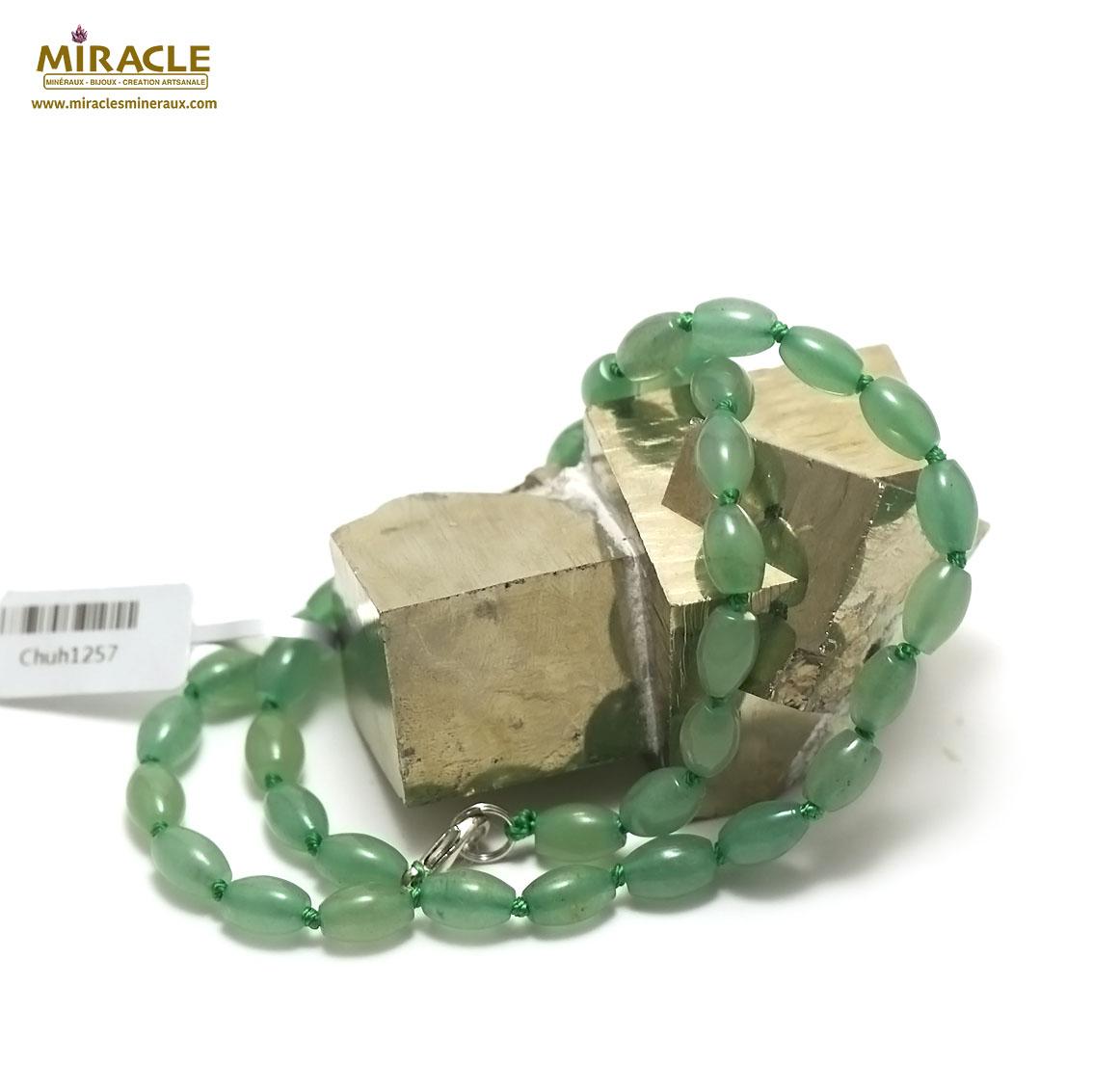 collier aventurine perle olive
