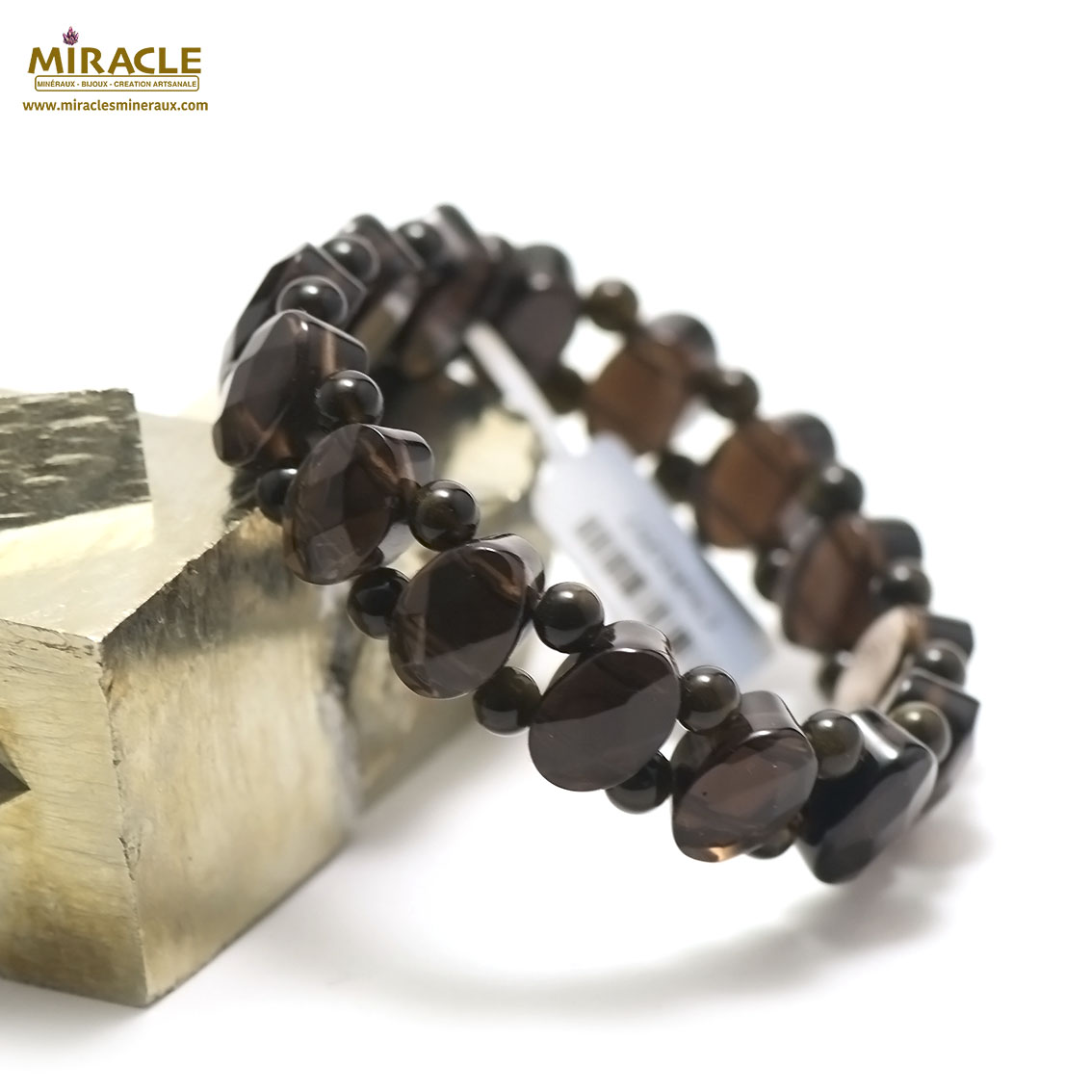 bracelet quartz fumé plaquette ovale facettée /ronde 5 mm