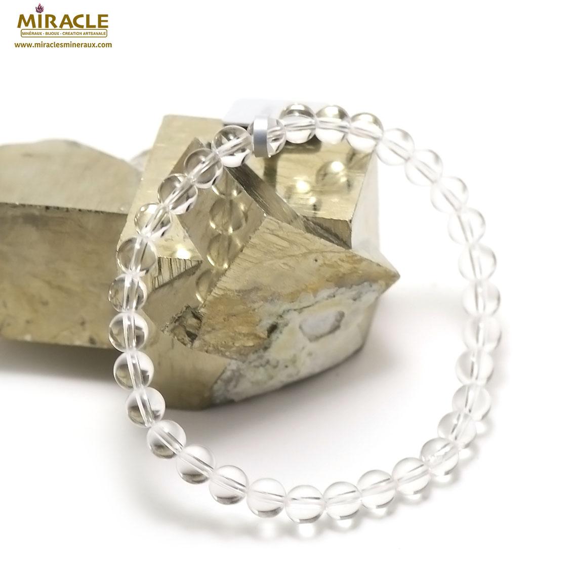 bracelet cristal de roche ( quartz ) , perle ronde 6 mm