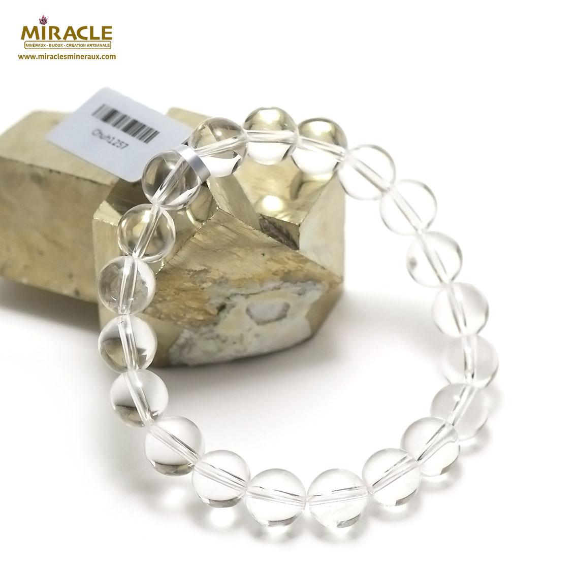bracelet cristal de roche,  perle ronde 10 mm