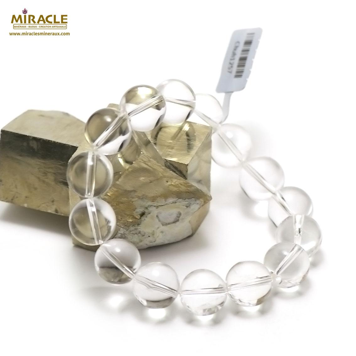 Bracelet cristal de roche , perle ronde 14 mm