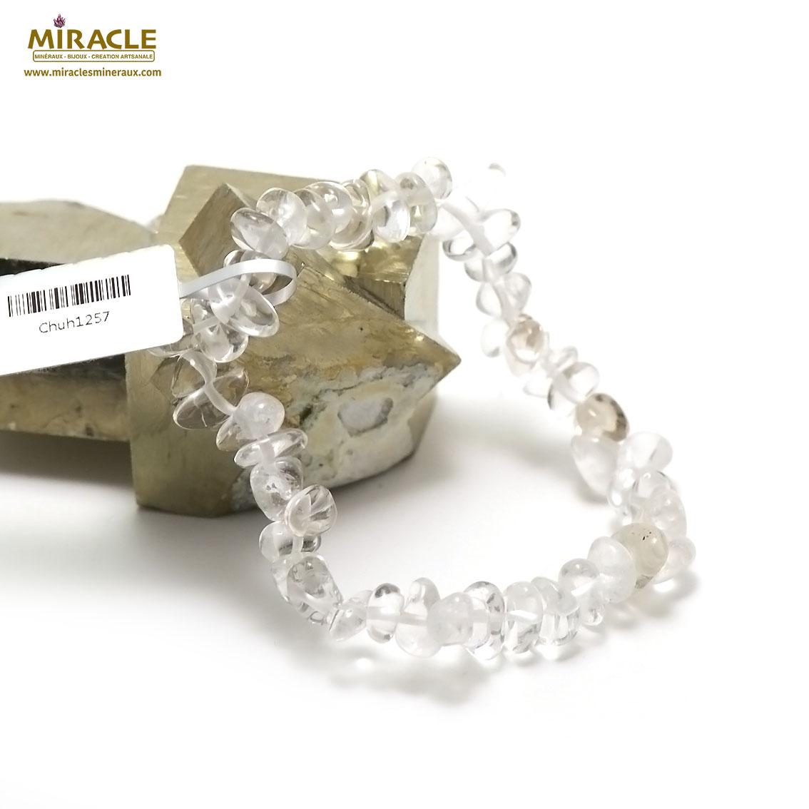 Bracelet cristal de roche  rondelle baroque,001