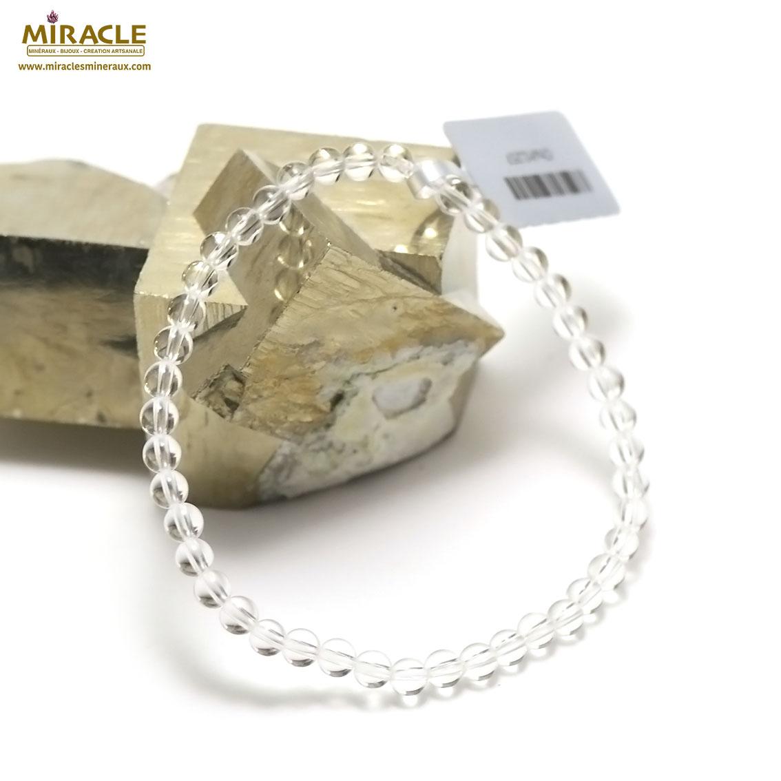 Bracelet cristal de roche , perle ronde 4 mm