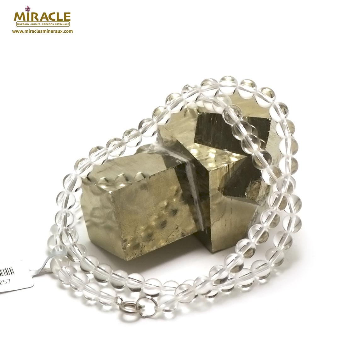 Collier cristal de roche , perle ronde 6 mm