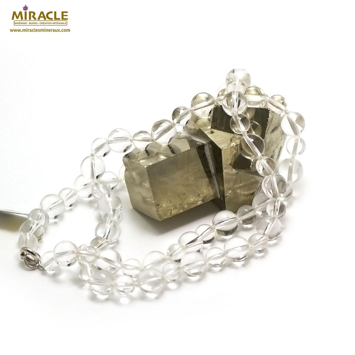 Collier long cristal de roche , double rondes 10 mm -8 mm