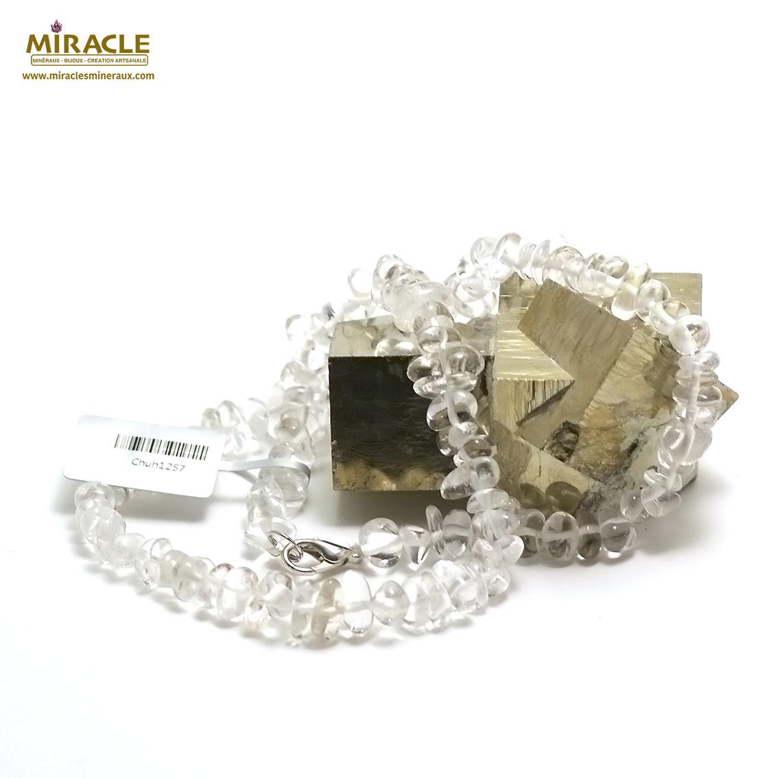 collier cristal de roche ,  rondelle baroque