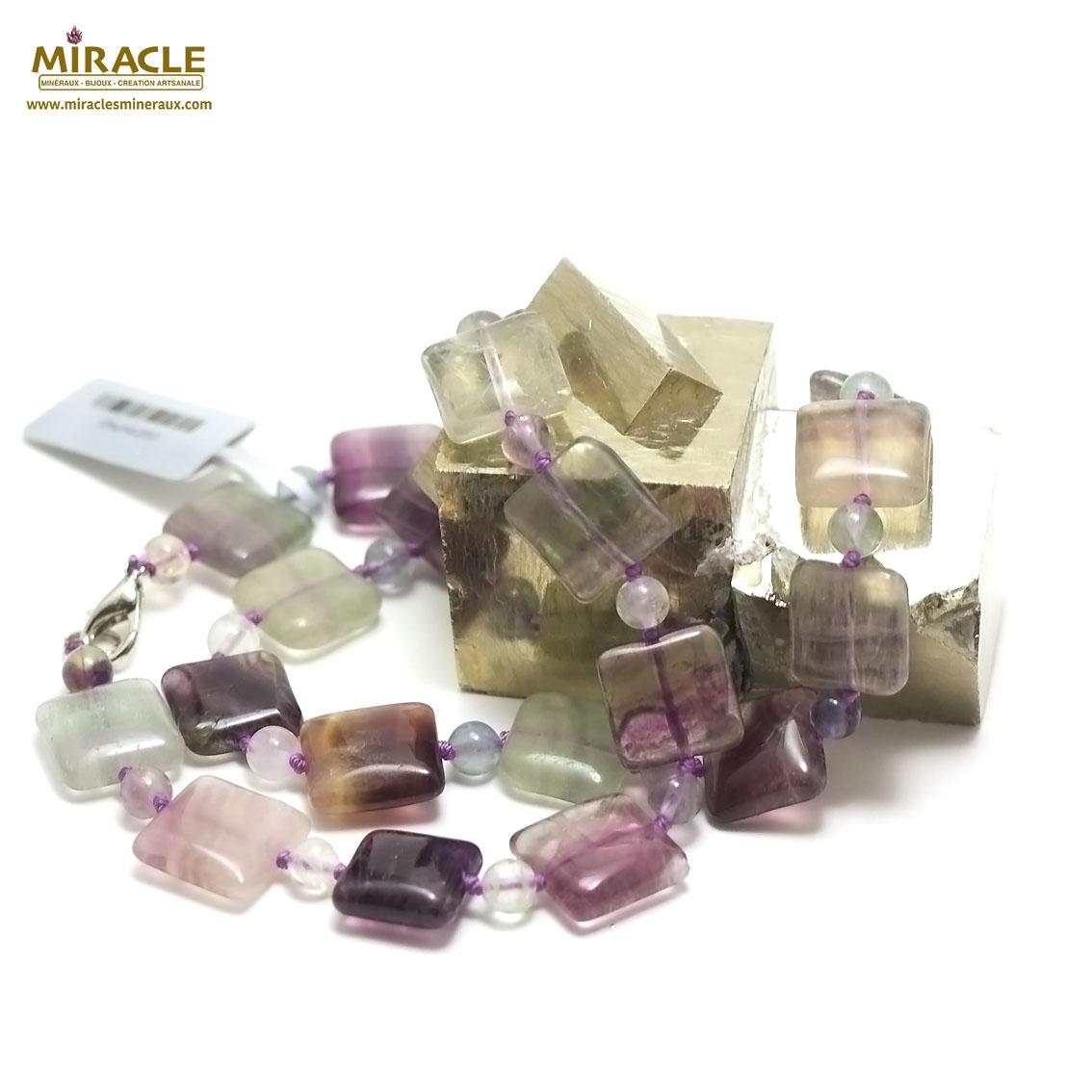 collier fluorite carrée-perle ronde 6 mm