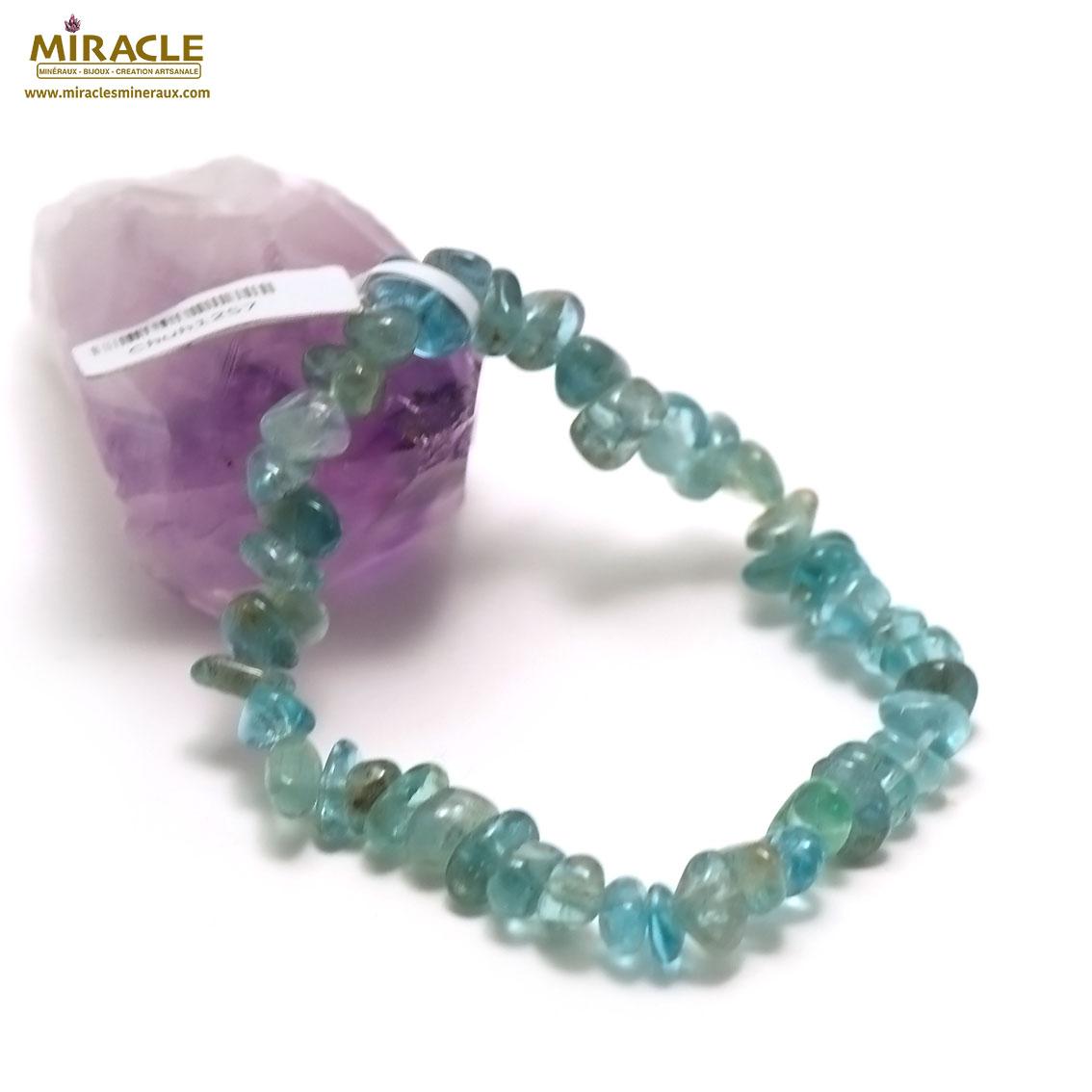 bracelet fluorite vert chips baroque