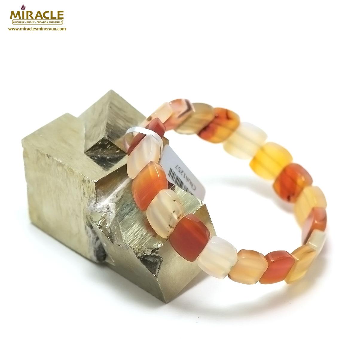 bracelet cornaline plaquette  rectangle en biais